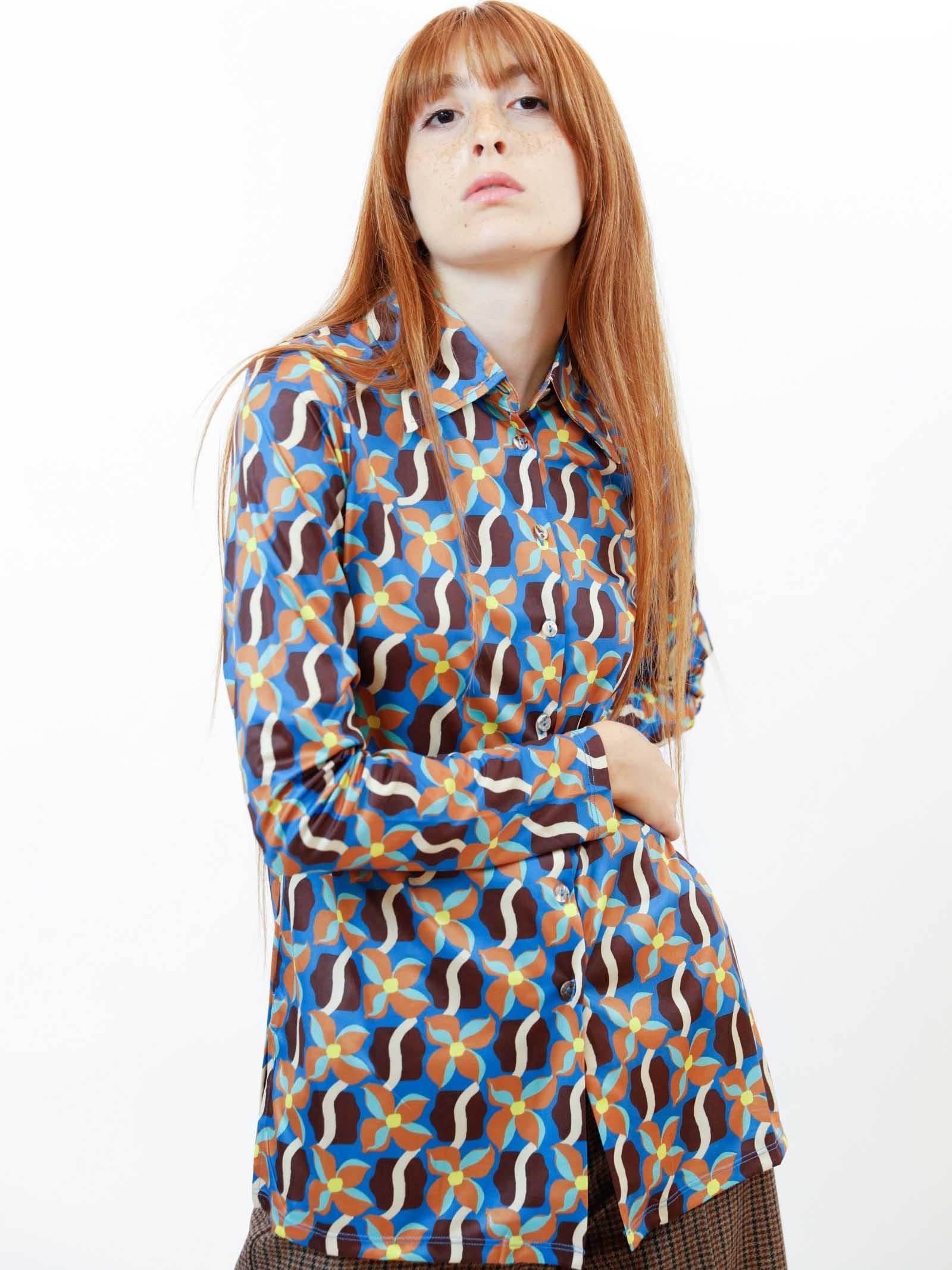 Abbigliamento Donna Camicia Wavy Daff in Jersey Stretch Stampato Blu a Fantasia Maliparmi | Camicie e Top | JM445570524C8053