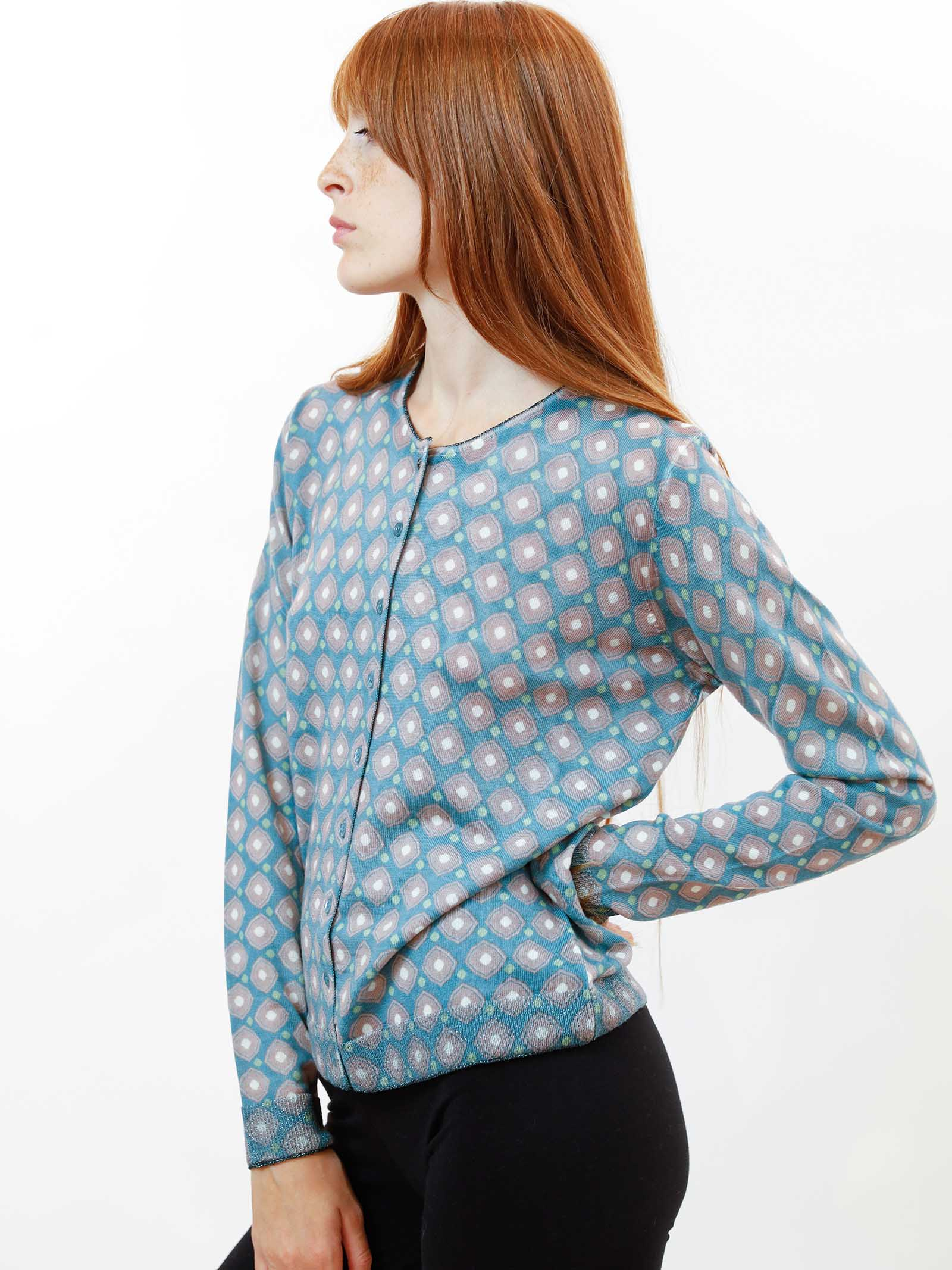 Women's Clothing Archizoom Merino Cardigan in Pure Wool Sage and Ivory with Long Sleeves and Mixed Buttons Maliparmi | Knitwear | JN355170511C6037