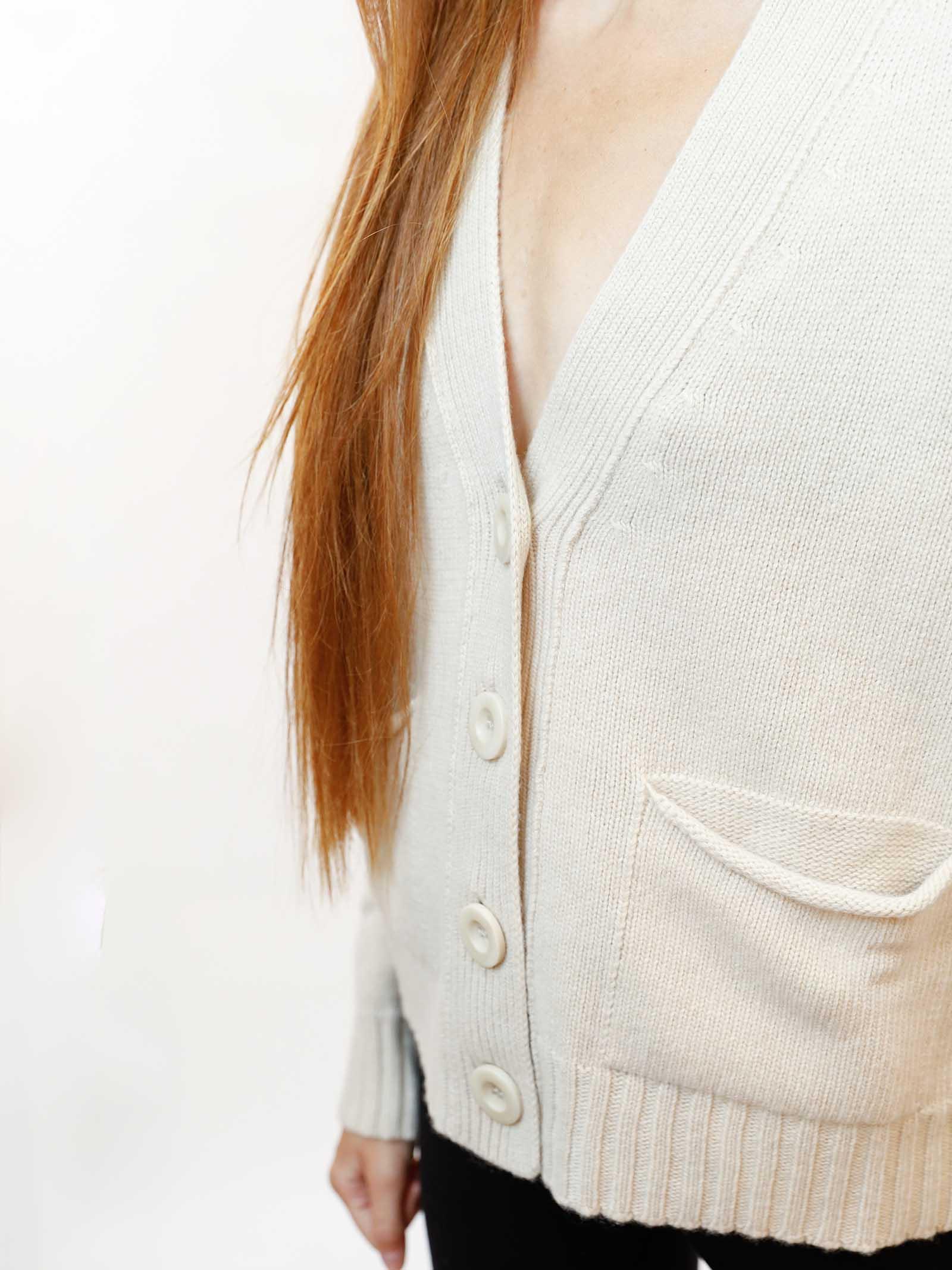 Abbigliamento Donna Cardigan Misto Cachemire in Avorio con Bottoni in Tinta Maliparmi | Maglieria | JN35537431510003