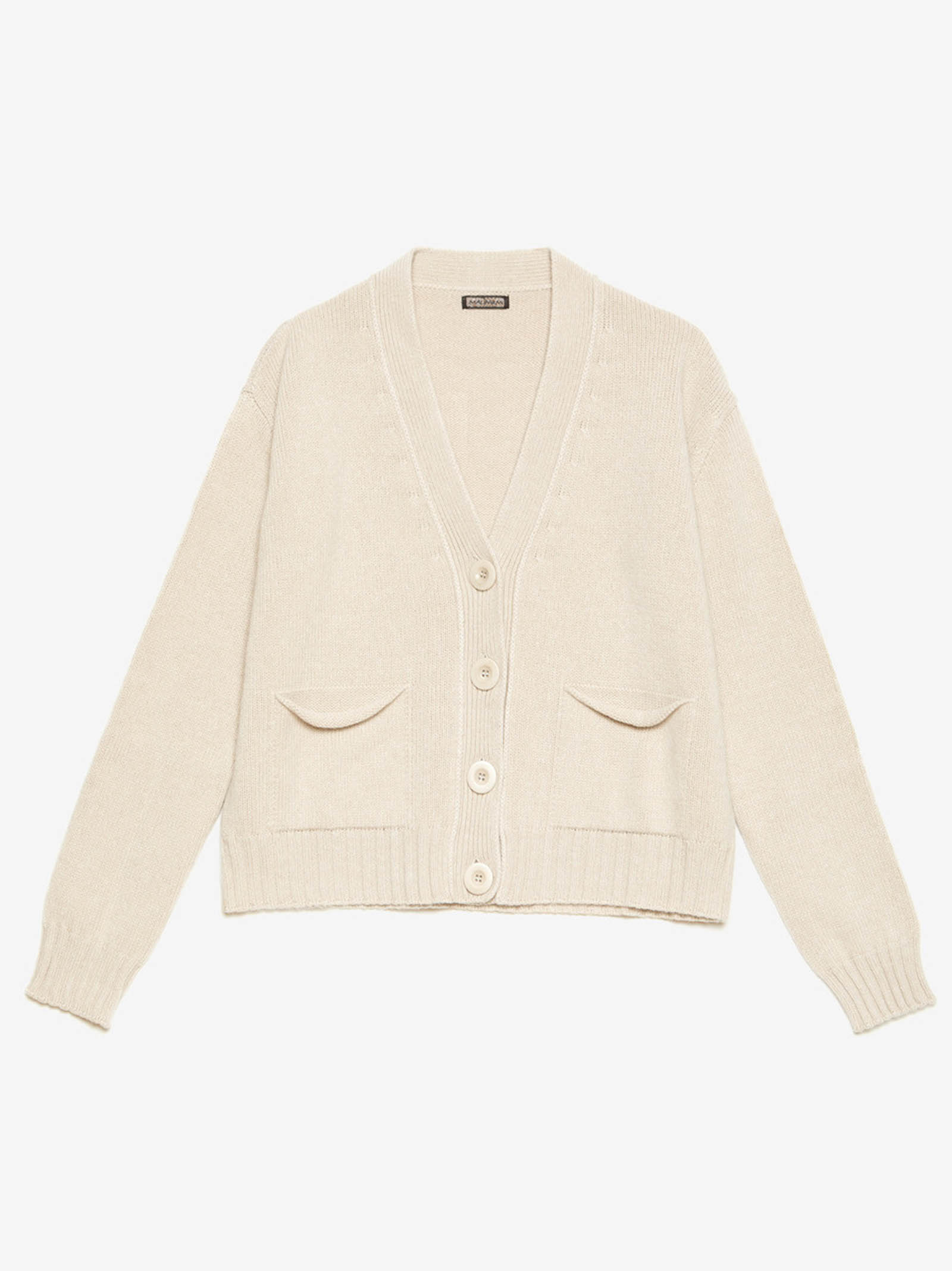 Women's Clothing Mixed Cashmere Cardigan in Ivory with Matching Buttons  Maliparmi   Knitwear   JN35537431510003