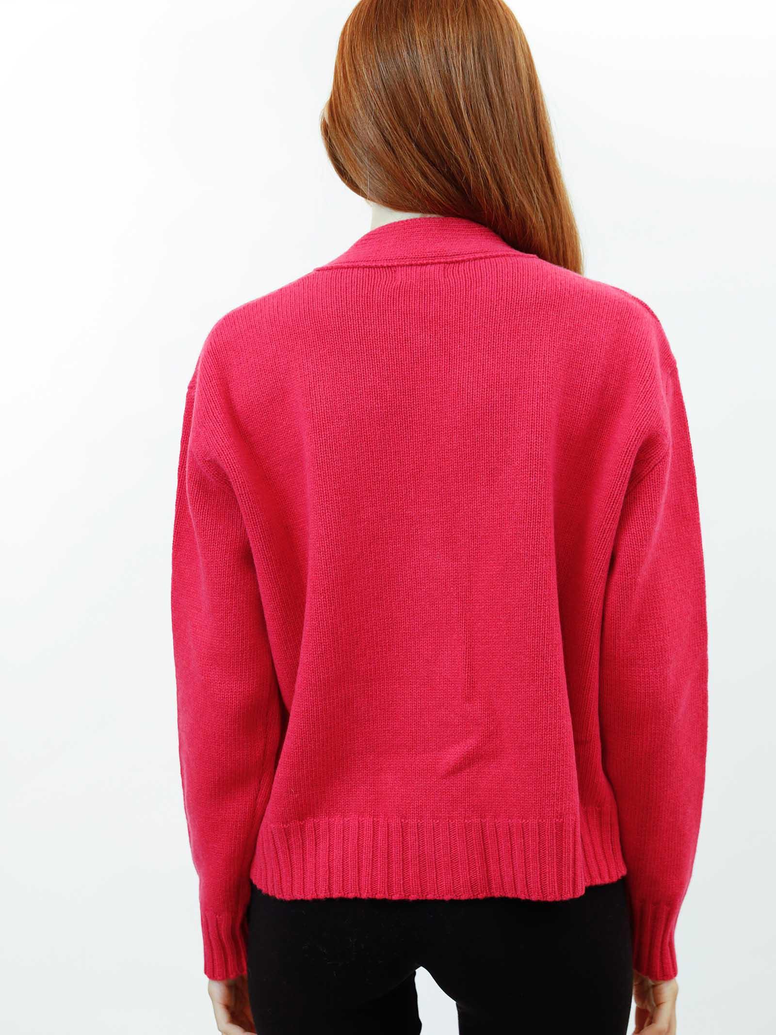 Abbigliamento Donna Cardigan Misto Cachemire in Rosso Geranio con Bottoni in Tinta Maliparmi | Maglieria | JN35537431534007