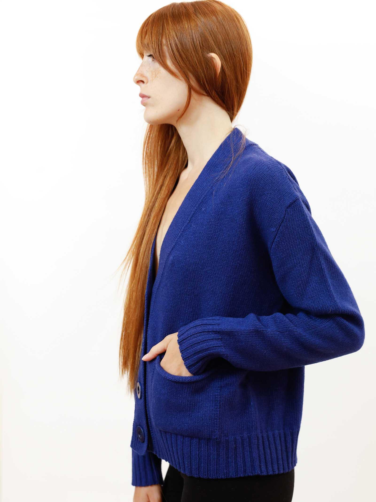 Abbigliamento Donna Cardigan Misto Cachemire in Blu Cobalto con Bottoni in Tinta Maliparmi | Maglieria | JN35537431580059