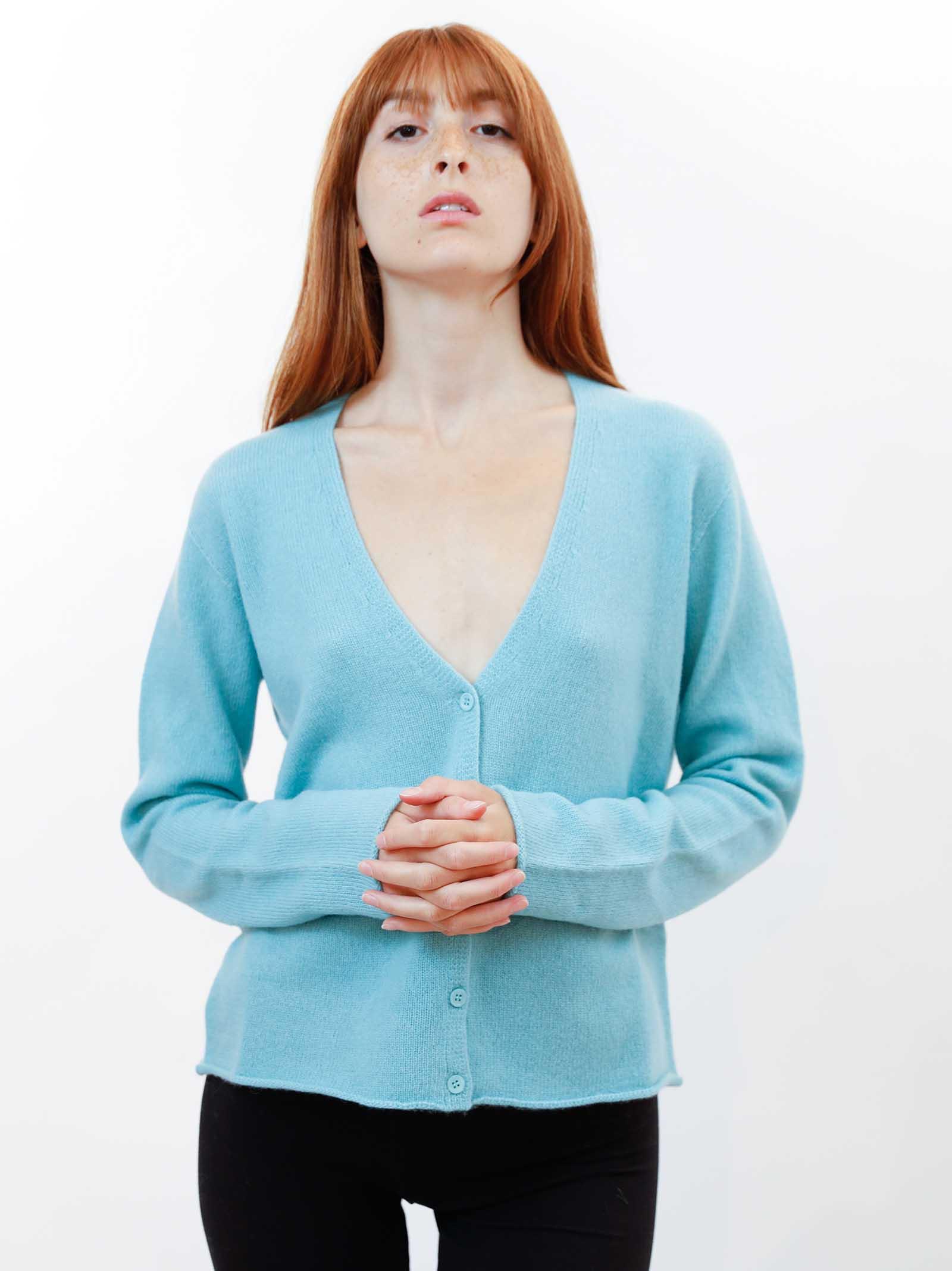 Women's Clothing Soft Cashemire Green Cardigan with Matching Buttons  Maliparmi | Knitwear | JN35757045760012