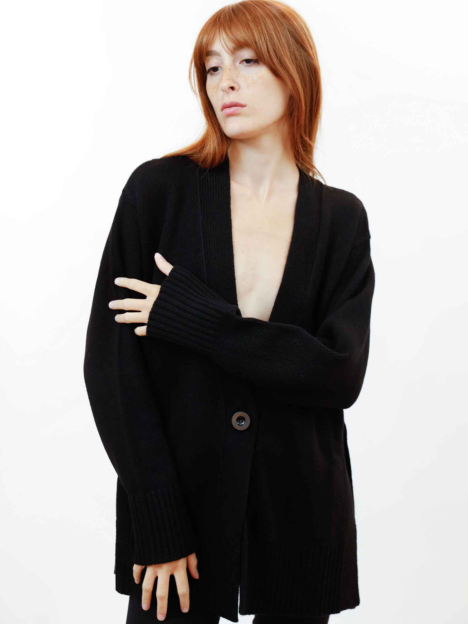 Women's Clothing Maxi Cardigan in Black Cashmere with Matching Buttons Maliparmi | Knitwear | JN35797431520000