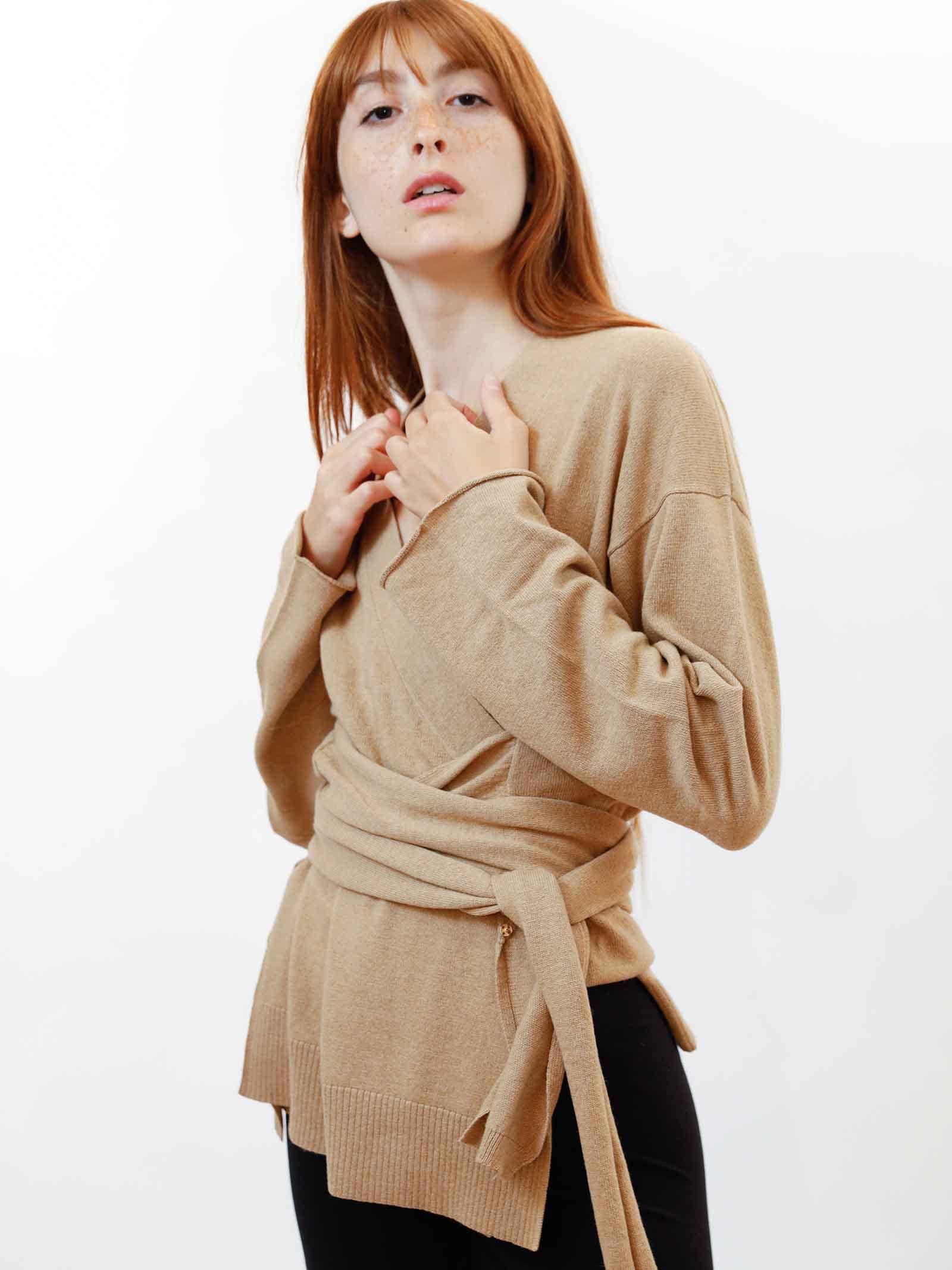 Abbigliamento Donna Cardigan Re-volution in Lana Beige con Cintura in Vita a Tono Maliparmi | Maglieria | JN35847051812035