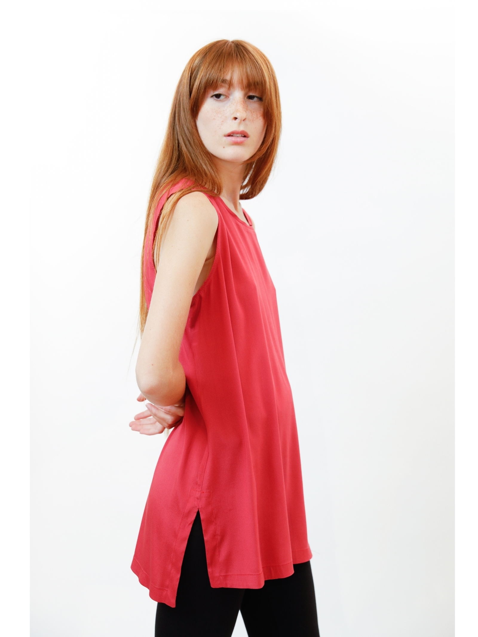Women's Clothing Silk Satin Top in Geranium Pure Silk Maliparmi | Shirts and tops | JP50793102034007