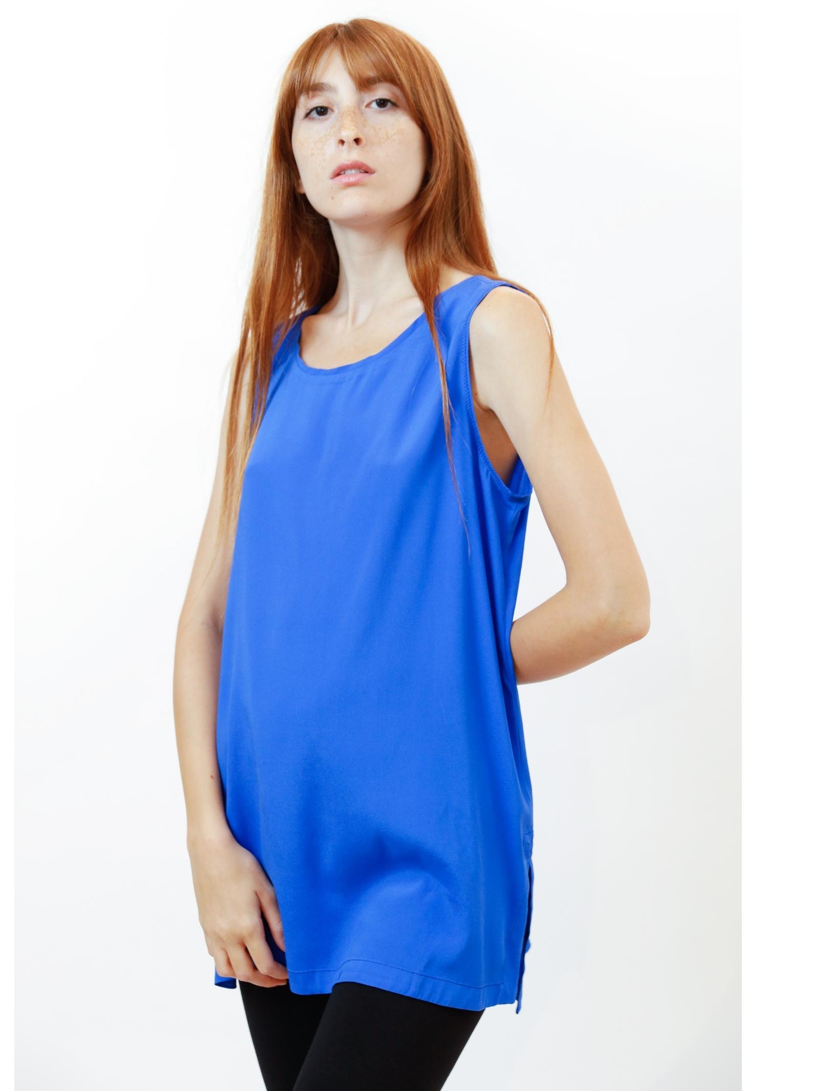 Women's Clothing Silk Satin Top in Cobalt Pure Silk Maliparmi   Shirts and tops   JP50793102080059