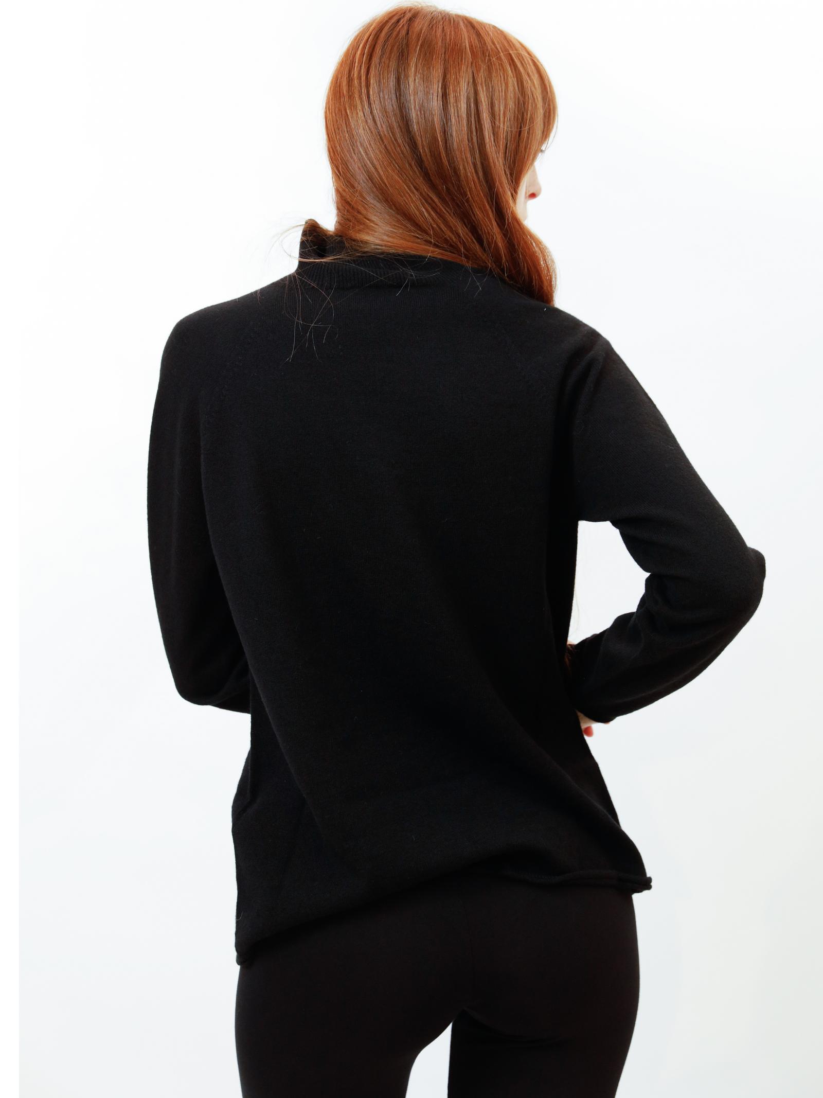 Women's Clothing Turtleneck Sweater in Black and Beige Wool & Cashmere Maliparmi | Knitwear | JQ48777425720000