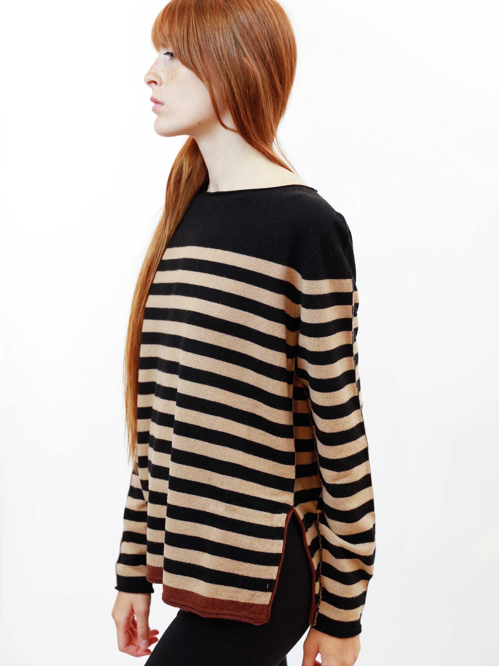 Abbigliamento Donna Maglia Wool & Cachemire a Righe Nero e Beige con Scollo Largo Maliparmi   Maglieria   JQ48787050612B20