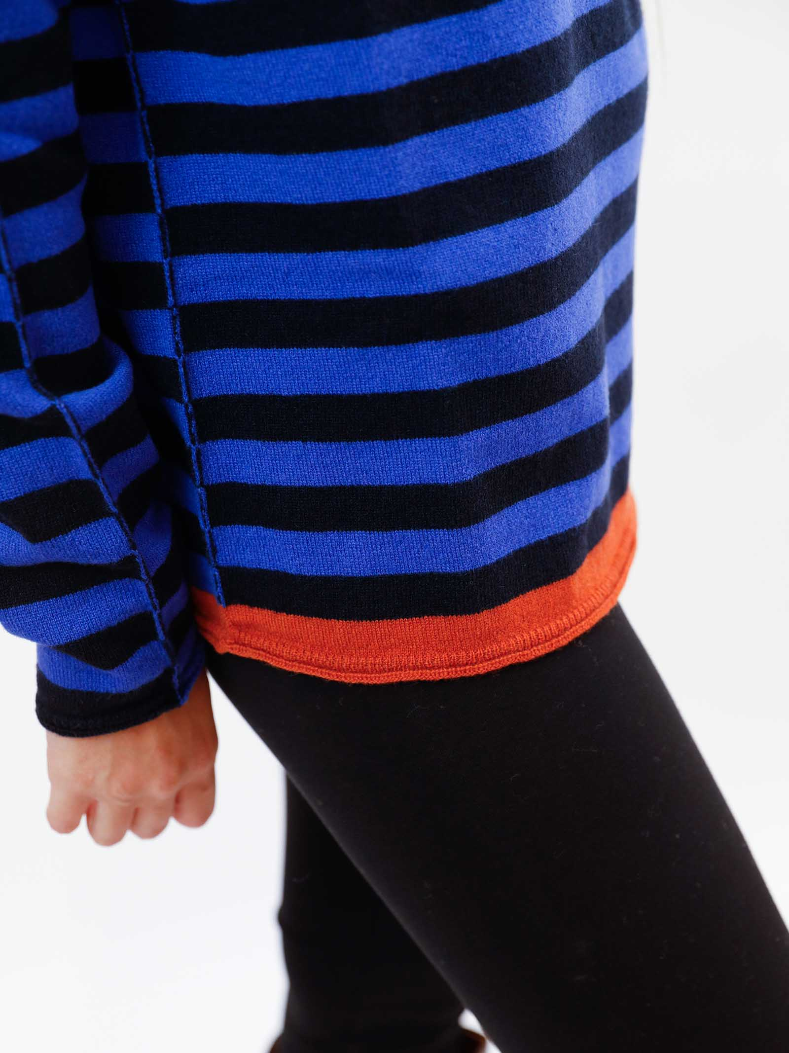 Women's Clothing Sweater in Blue and Black Striped Wool & Cashmere with Wide Neckline Maliparmi   Knitwear   JQ48787050680B80