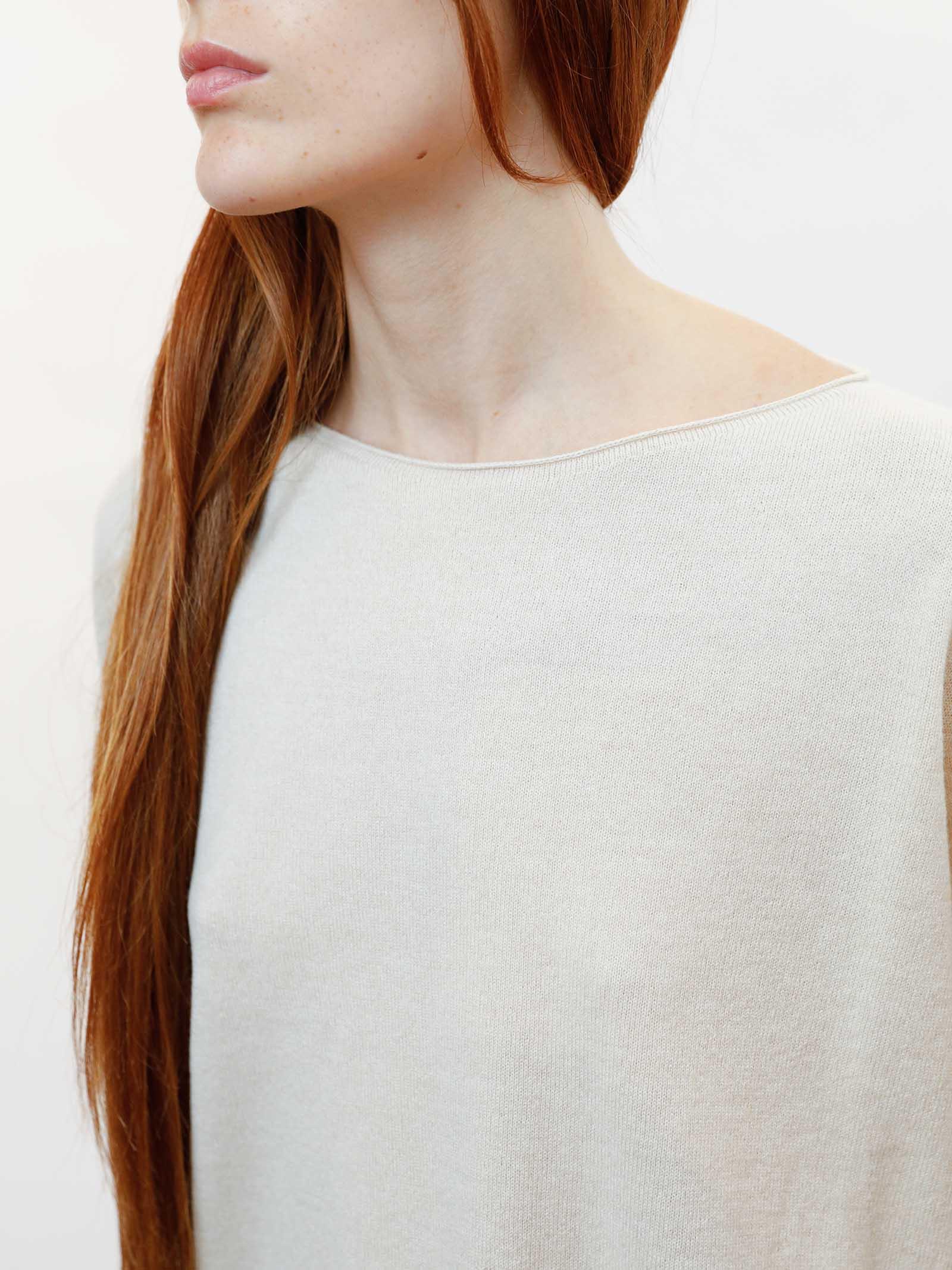 Abbigliamento Donna Maglia Wool & Cachemire Avorio con Scollo Largo Maliparmi   Maglieria   JQ48787425710003