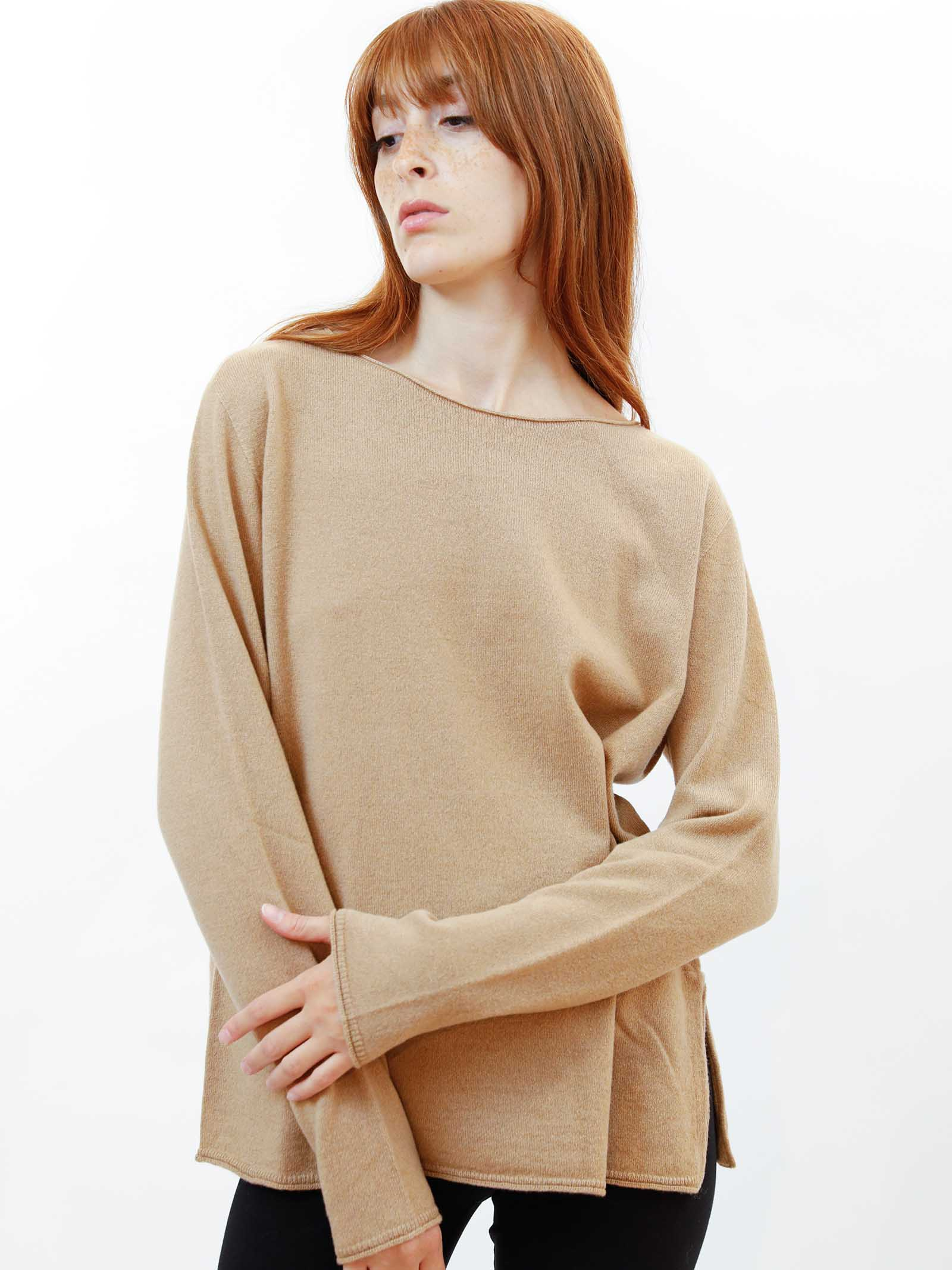 Women's Clothing Sweater in Biscuit Wool & Cashmere with Wide Neckline Maliparmi   Knitwear   JQ48787425712071