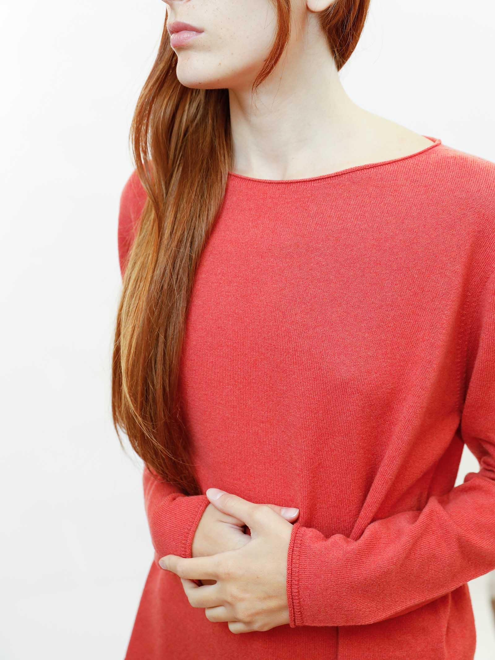 Women's Clothing Sweater in Rusty Wool & Cashmere with Wide Neckline Maliparmi   Knitwear   JQ48787425731038