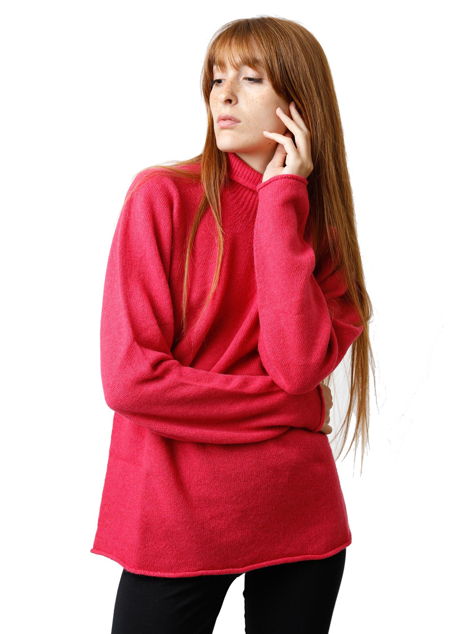 Women's Clothing Soft Cash Sweater in Geranium Cashmere with High Neck and Flared Bottom Maliparmi   Knitwear   JQ48797045734007