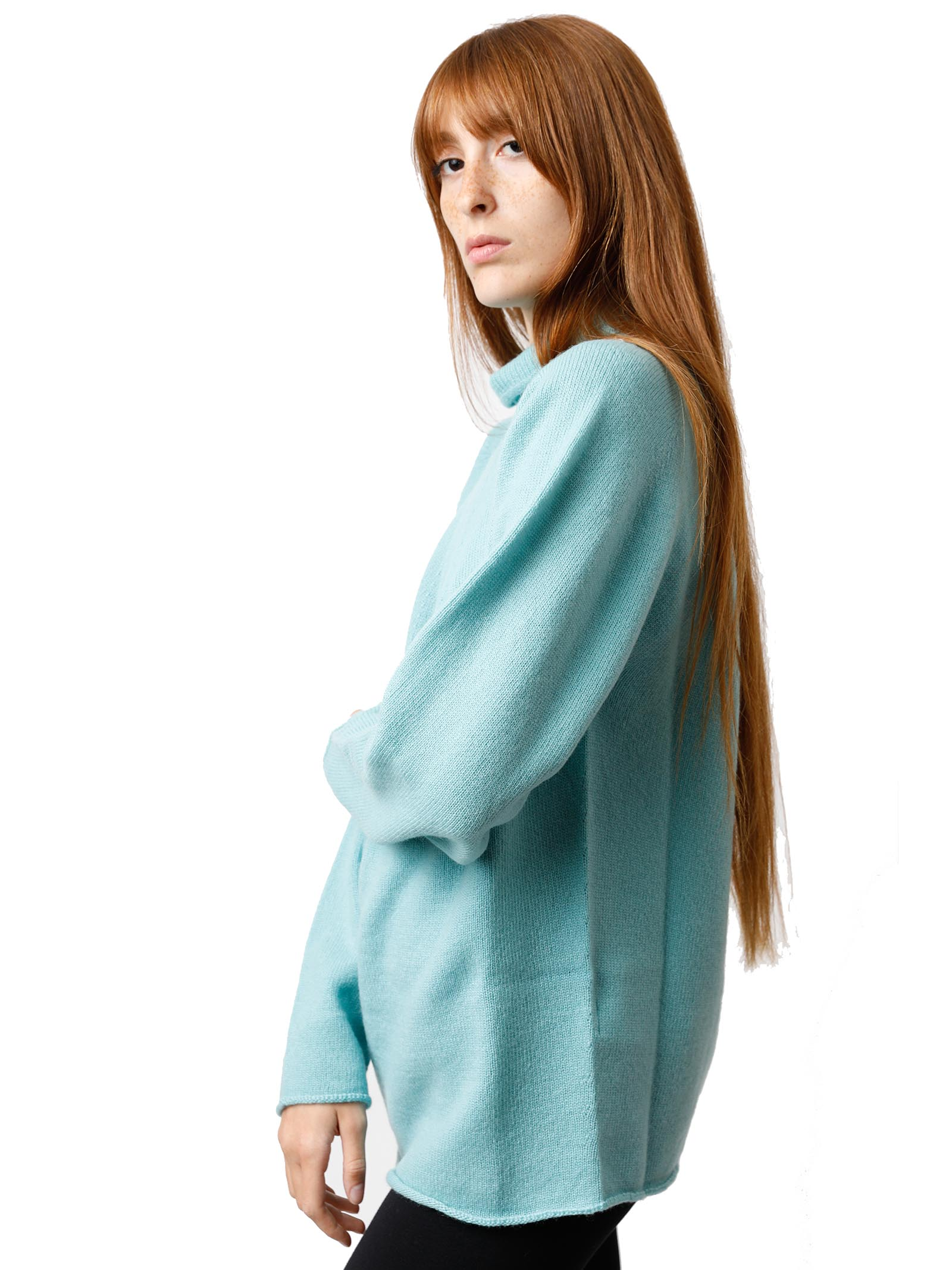 Women's Clothing Soft Cash Sweater in Aqua Green Cashmere with High Neck and Flared Bottom Maliparmi | Knitwear | JQ48797045760012