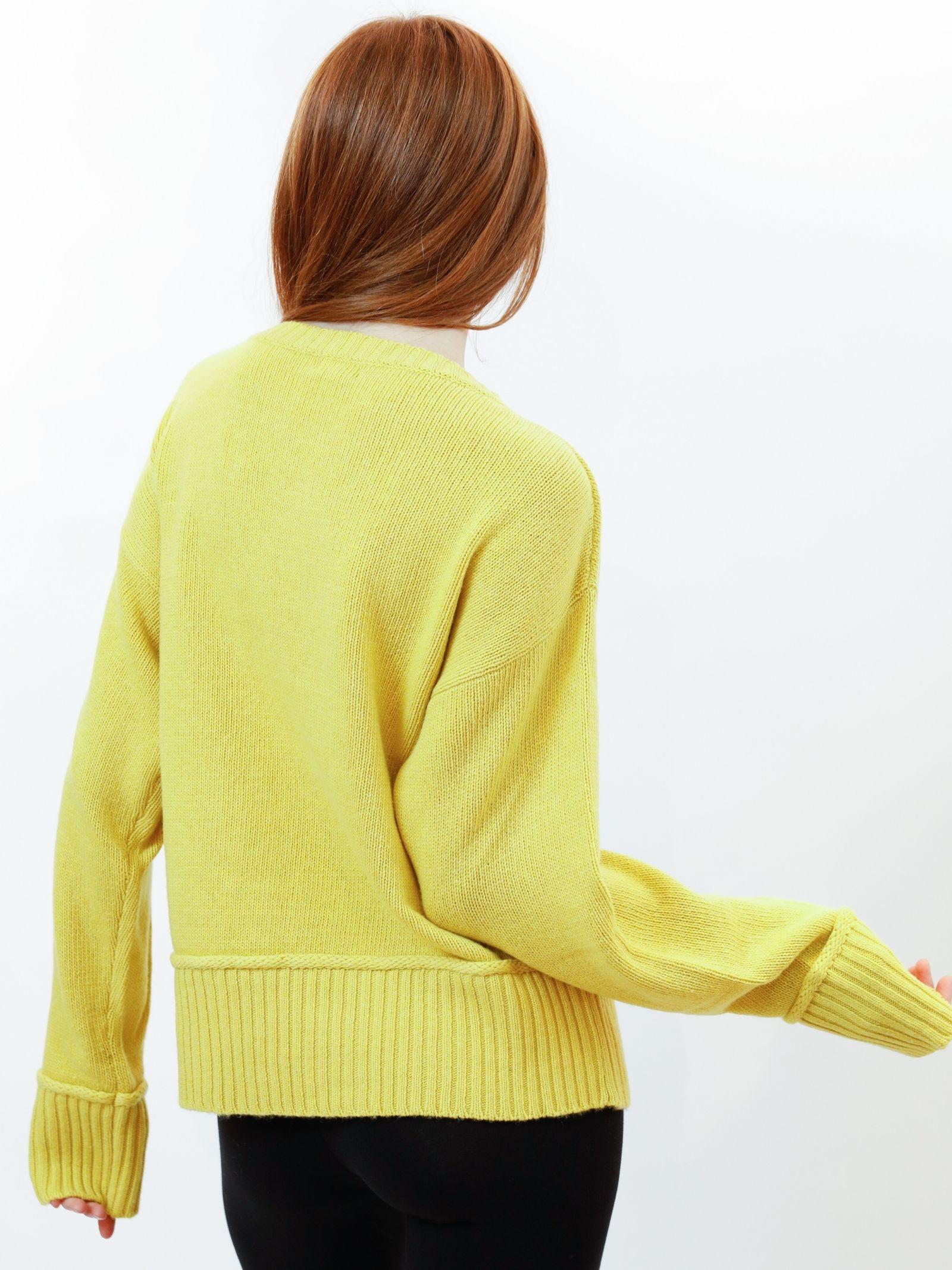 Women's Clothing Sweater in Yellow Merino Cashmere with Crew-neck Maliparmi | Knitwear | JQ48857431570009