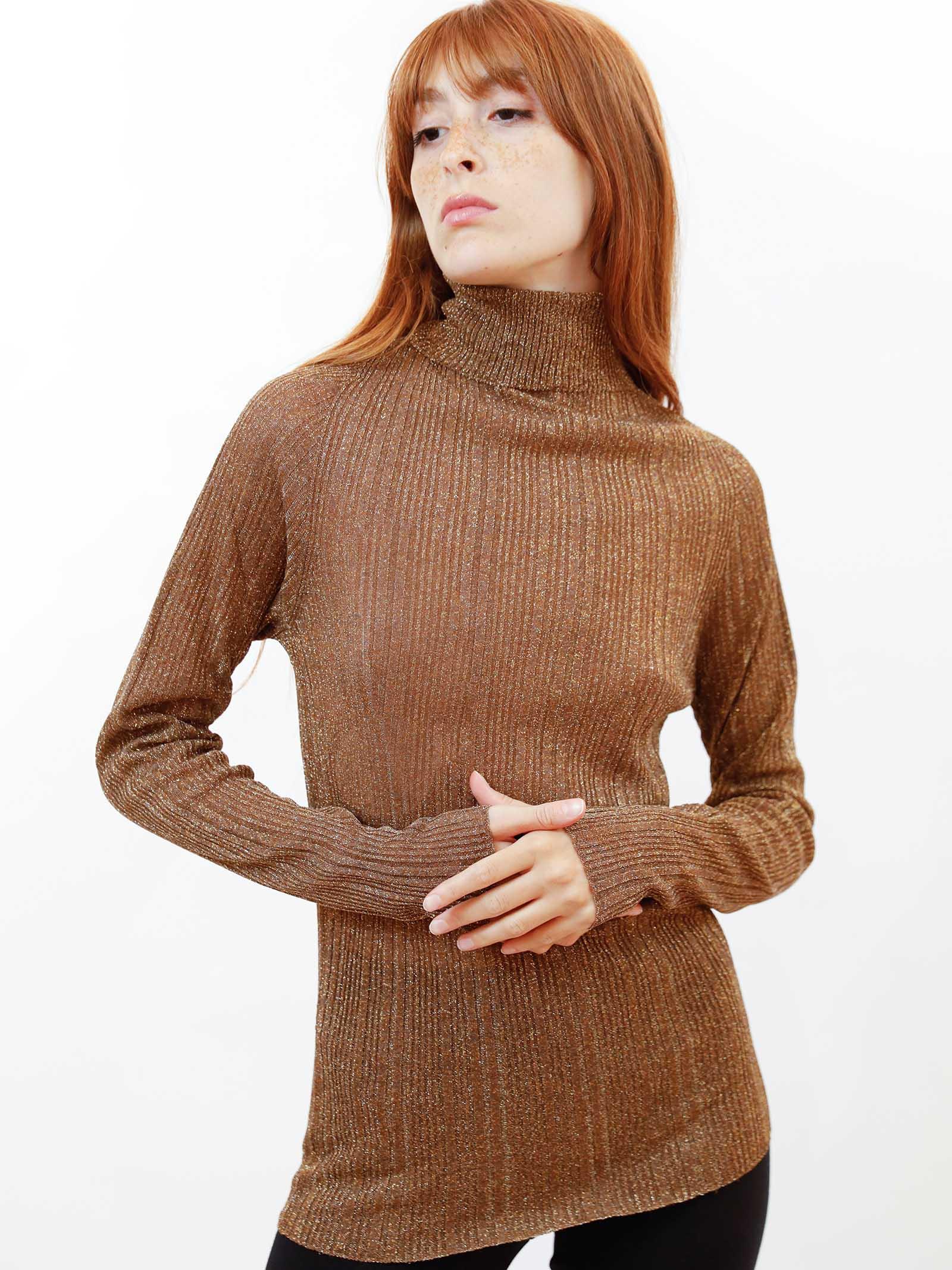 Women's Clothing Ribbed Turtleneck Sweater in Caramel Lurex Maliparmi | Knitwear | JQ48867036541008