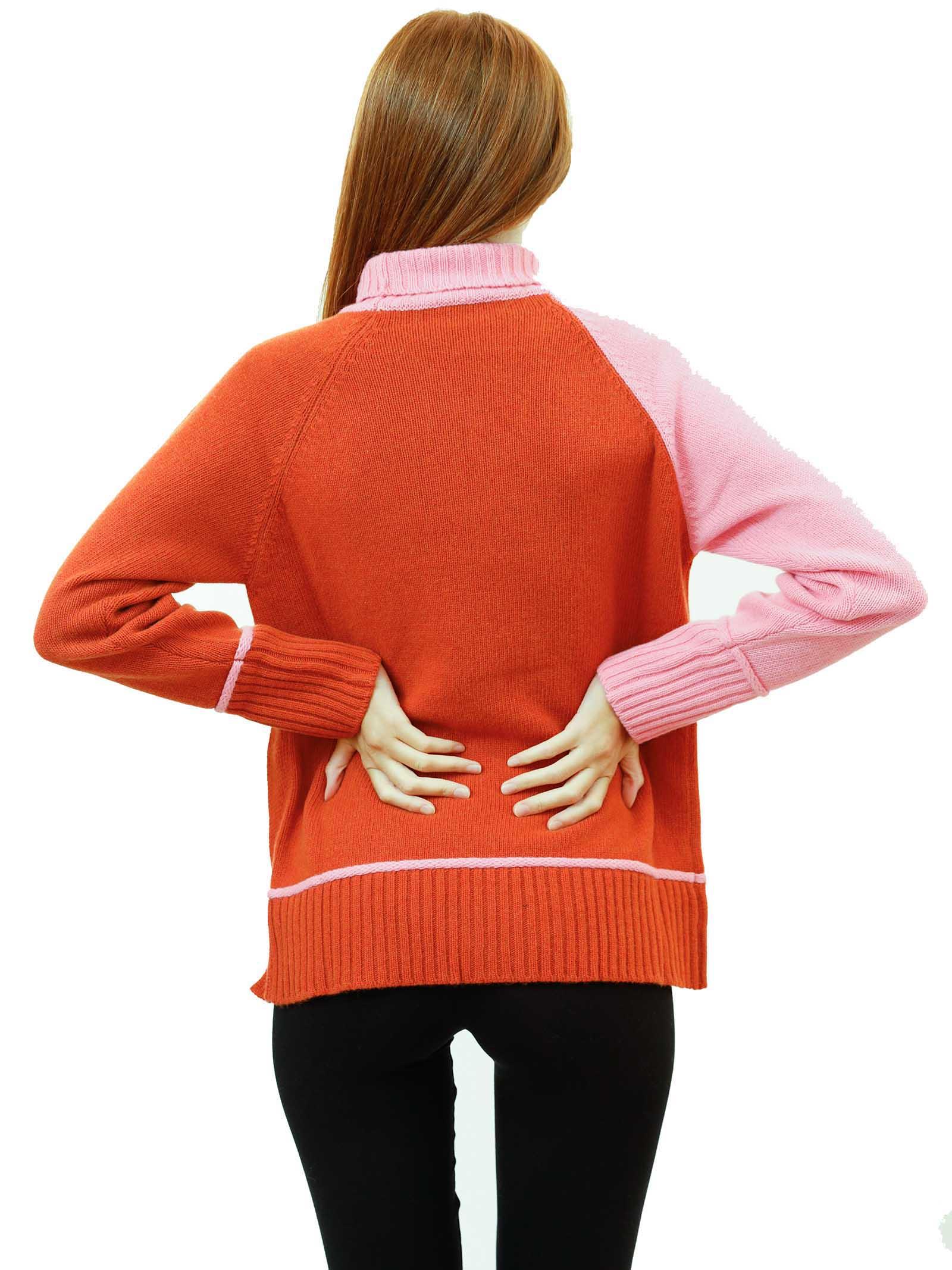 Women's Clothing Turtleneck Sweater in Pink and Brick Merino Cashmere Maliparmi | Knitwear | JQ48877431541C32