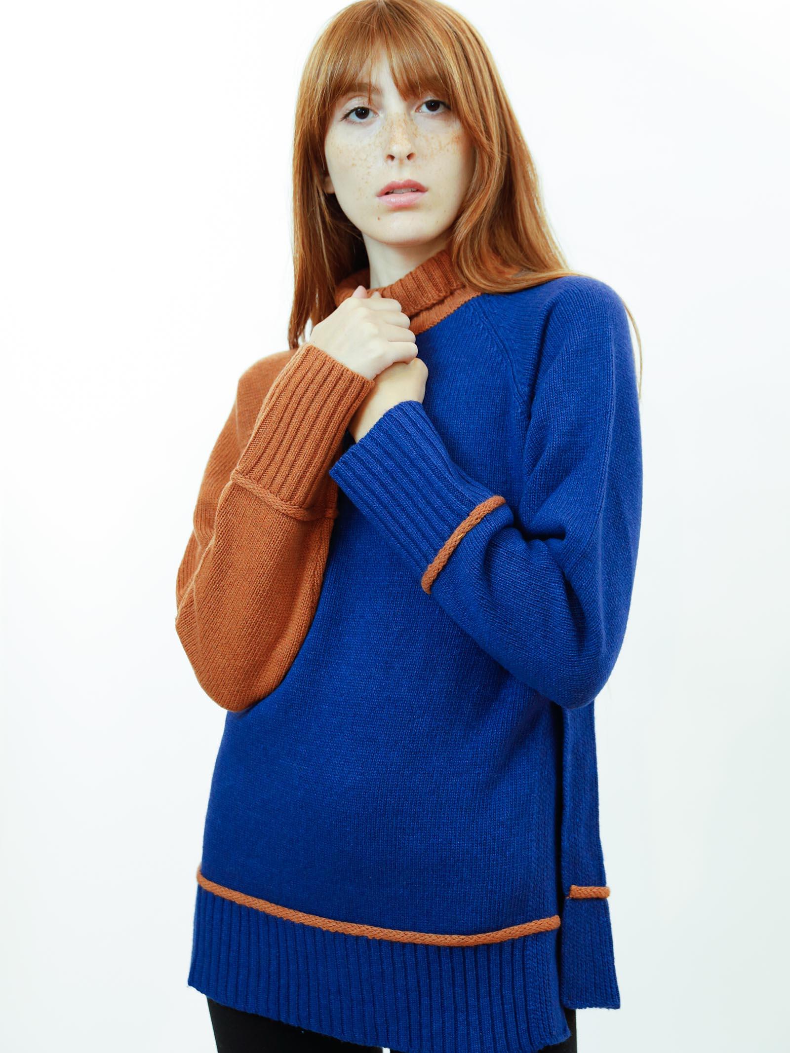 Abbigliamento Maglione Donna Cachemire Merinos Collo Alto in Blu e Arancio Maliparmi | Maglieria | JQ48877431580B31