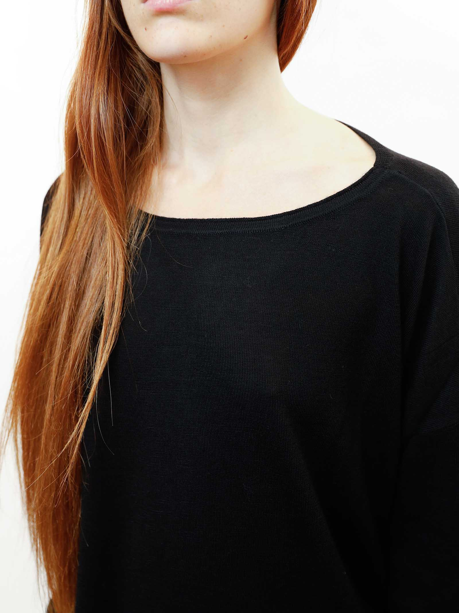 Women's Clothing Sweater Colours The World in Black Wool with Crew-neck Maliparmi | Knitwear | JQ48917423020000