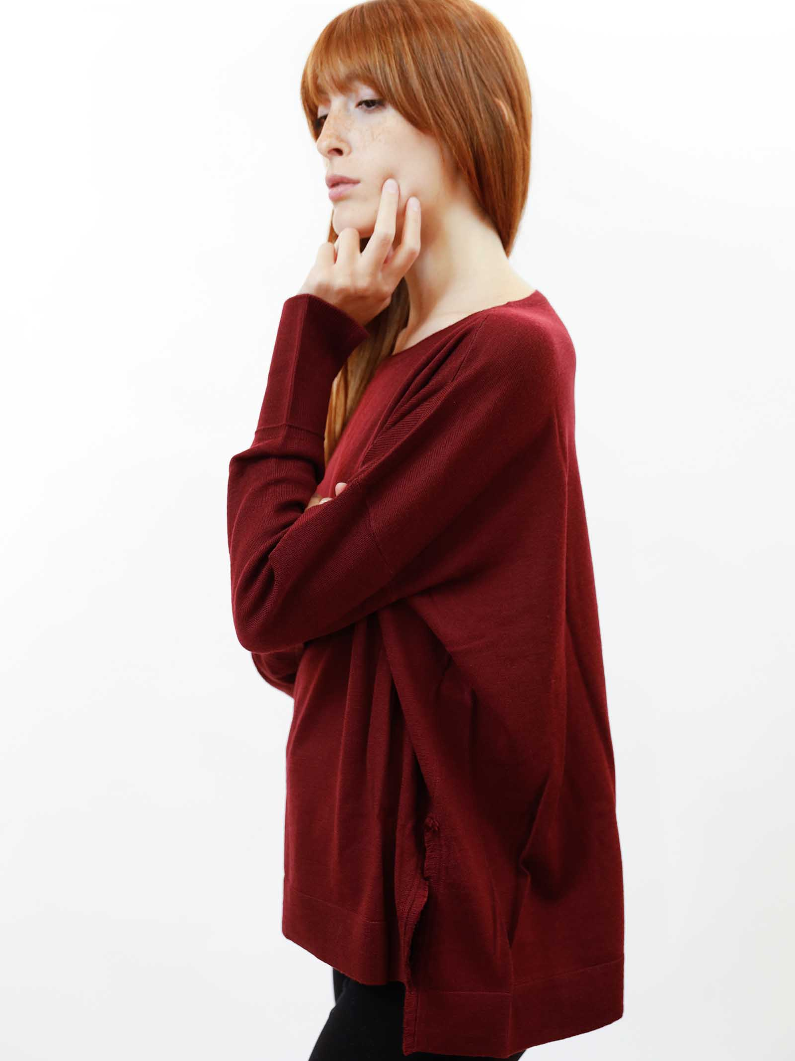 Women's Clothing Sweater Colours The World in Burgundy Wool with Crew-neck Maliparmi | Knitwear | JQ48917423033010