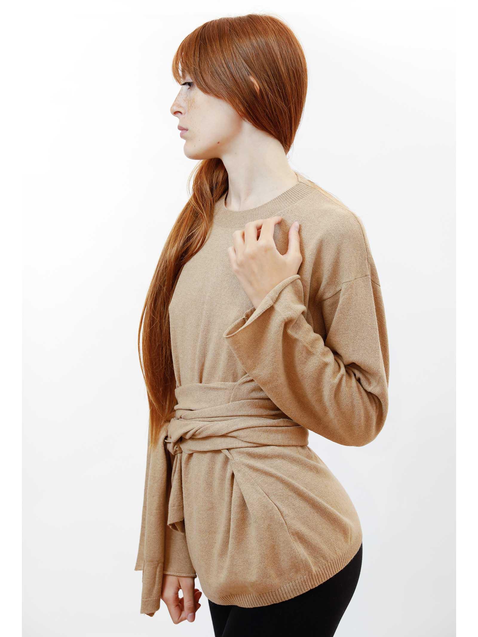 Women's Clothing Re-volution Sweater in Beige Wool Crew-Neck with Matching Waist Belt Maliparmi | Knitwear | JQ48987051812035