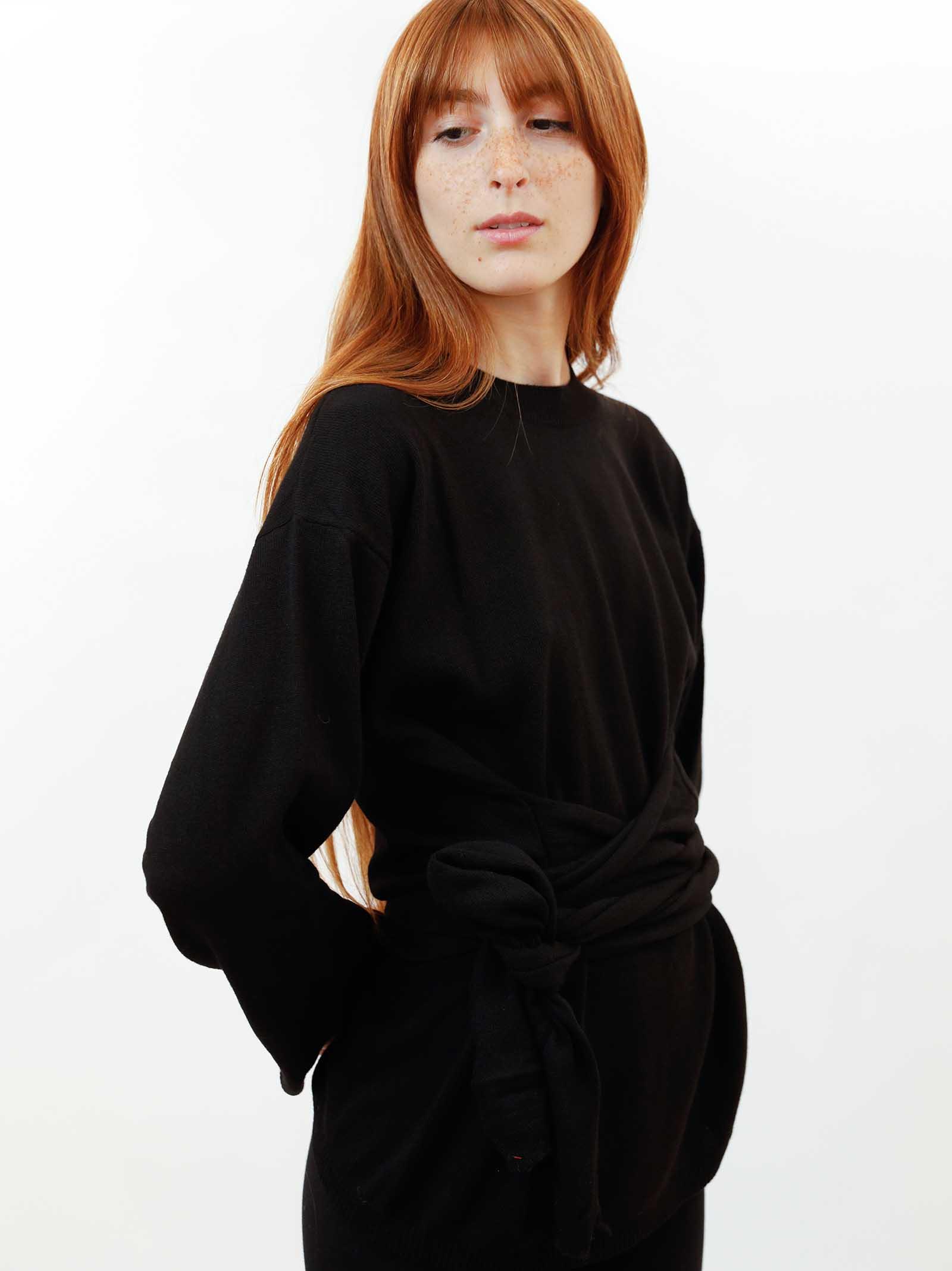 Women's Clothing Re-volution Sweater in Black Wool Crew-Neck with Matching Waist Belt Maliparmi | Knitwear | JQ48987051820000