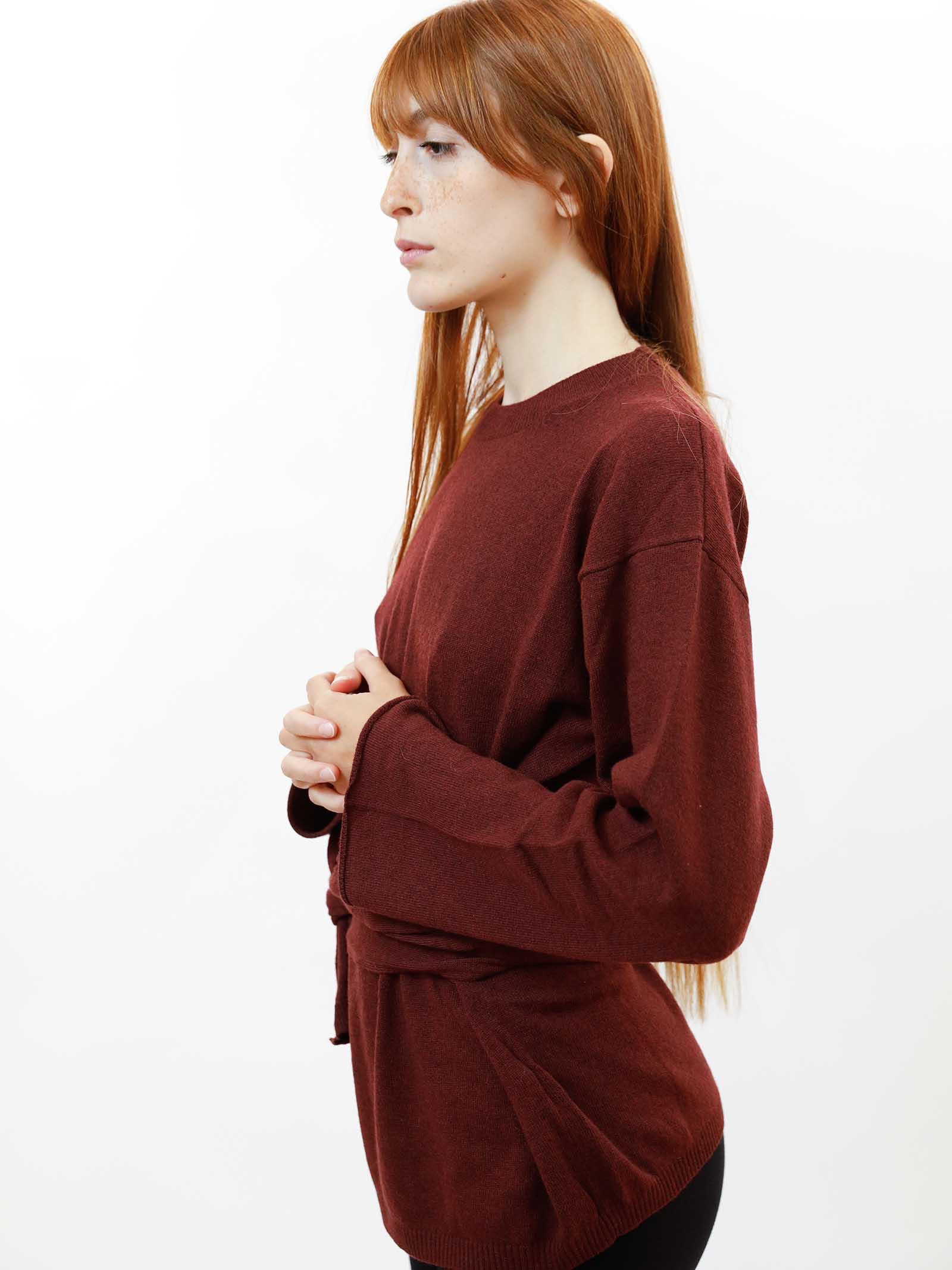 Women's Clothing Re-volution Sweater in Burgundy Wool Crew-Neck with Matching Waist Belt Maliparmi | Knitwear | JQ48987051833010