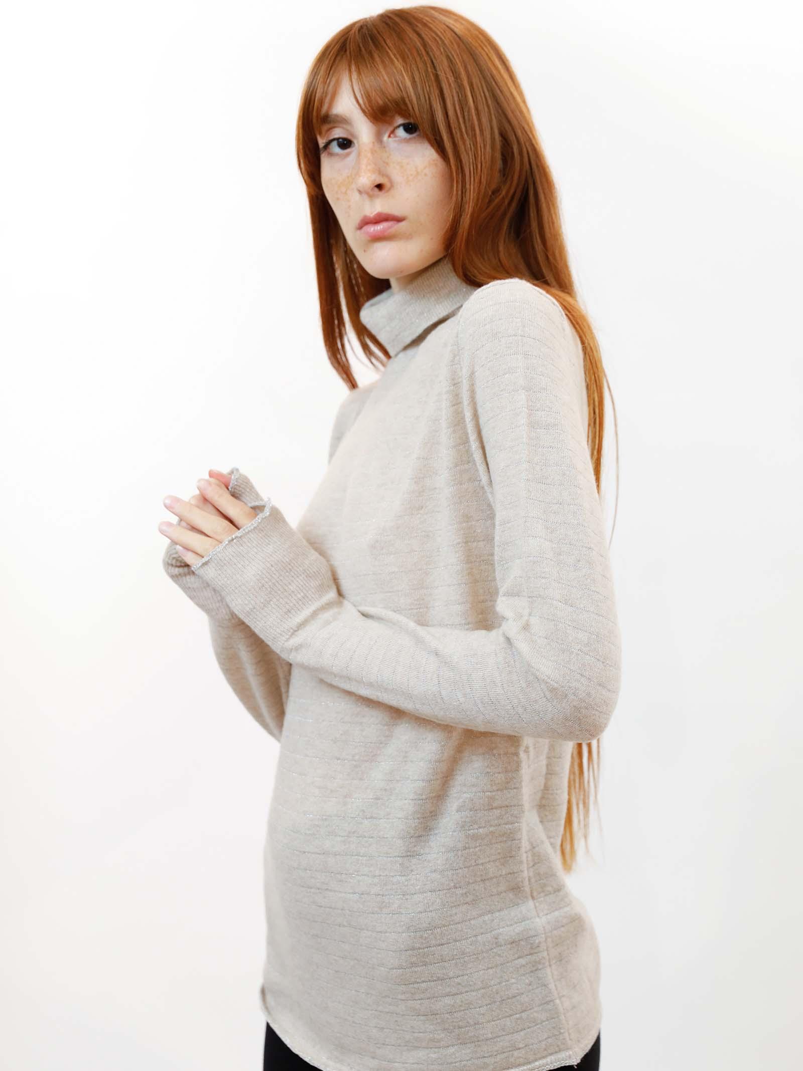 Abbigliamento Donna Maglione Collo Alto Soft Misto Cachemire in Avorio con Lurex Maliparmi | Maglieria | JQ49017052310003