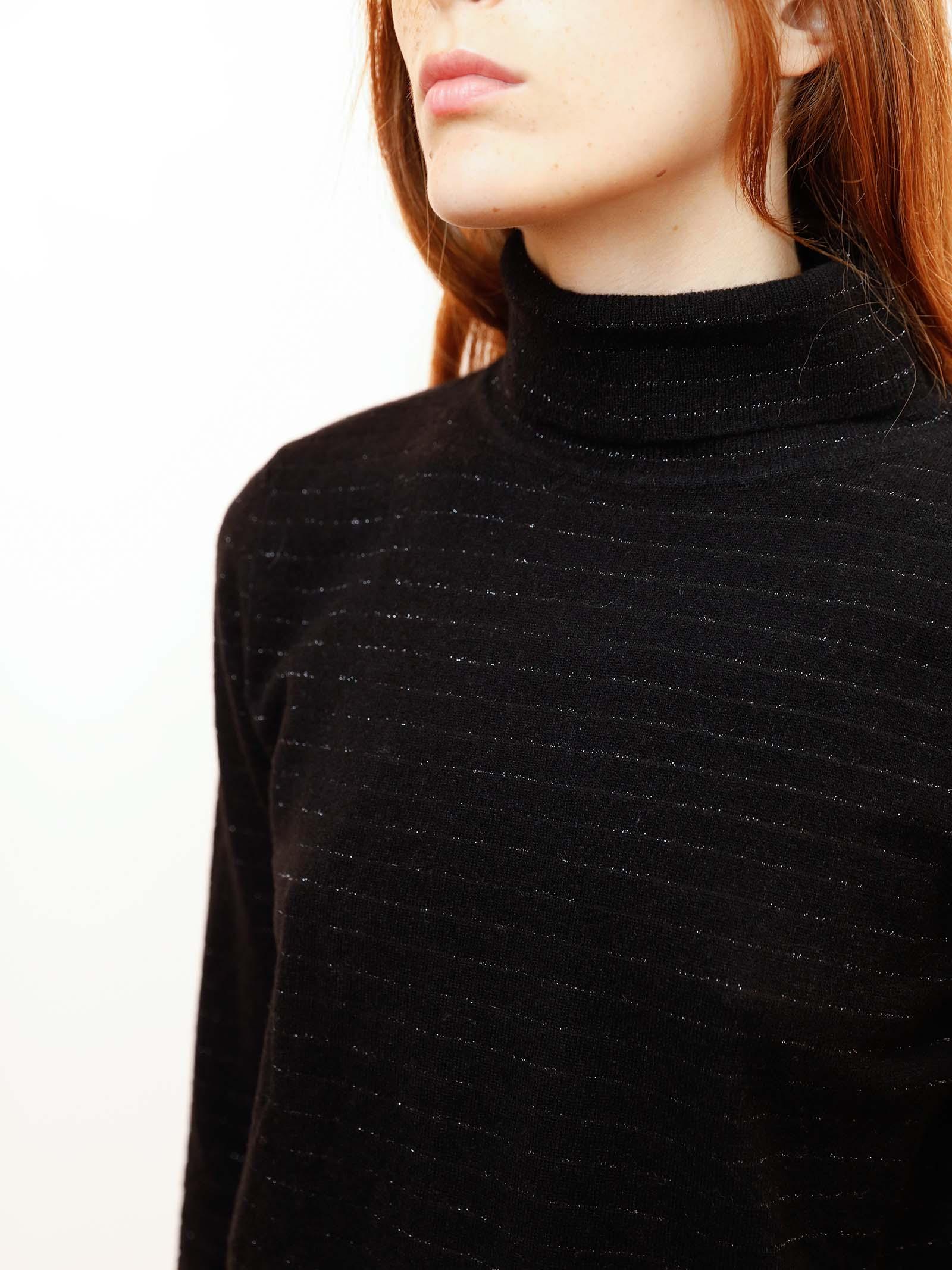 Women's Clothing Turtleneck Soft Sweater in Black Cashmere Blend with Lurex Maliparmi | Knitwear | JQ49017052320000