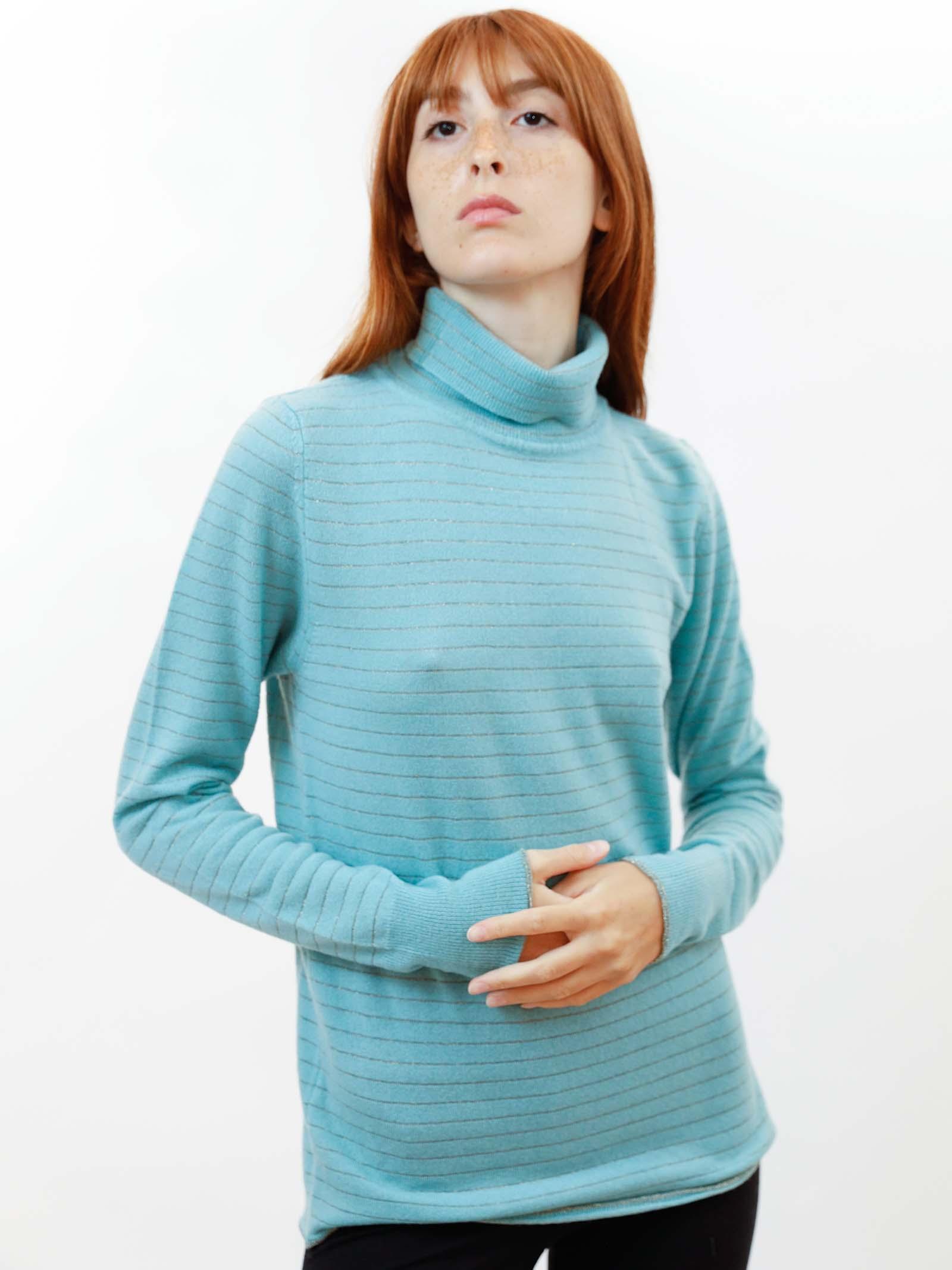 Abbigliamento Donna Maglione Collo Alto Soft Misto Cachemire in Verde Acqua con Lurex Maliparmi | Maglieria | JQ49017052360012