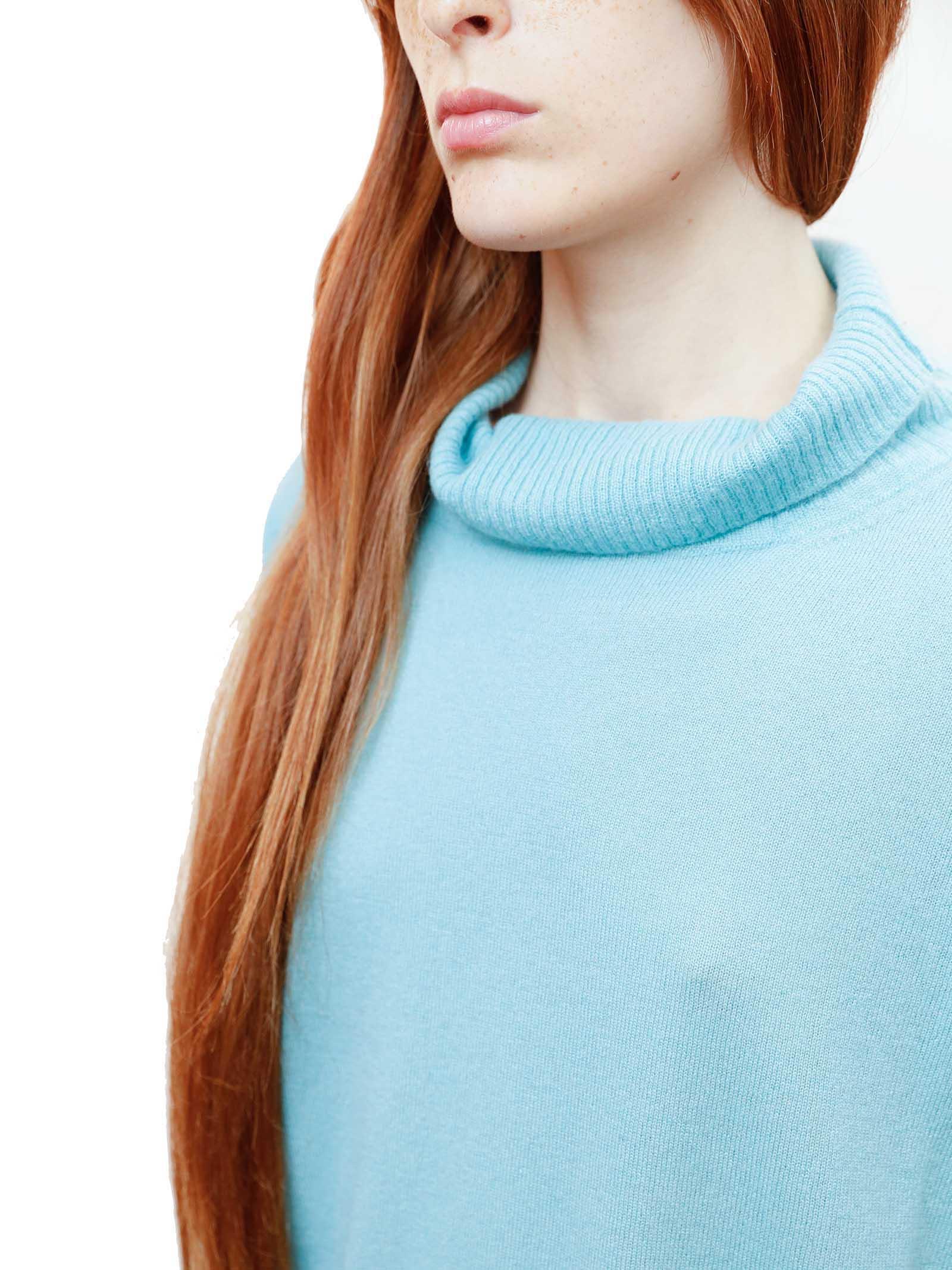 Women's Clothing Soft Cashmere Sweater in Aqua Green and Luerx Turtleneck Maliparmi | Knitwear | JQ49027052360012