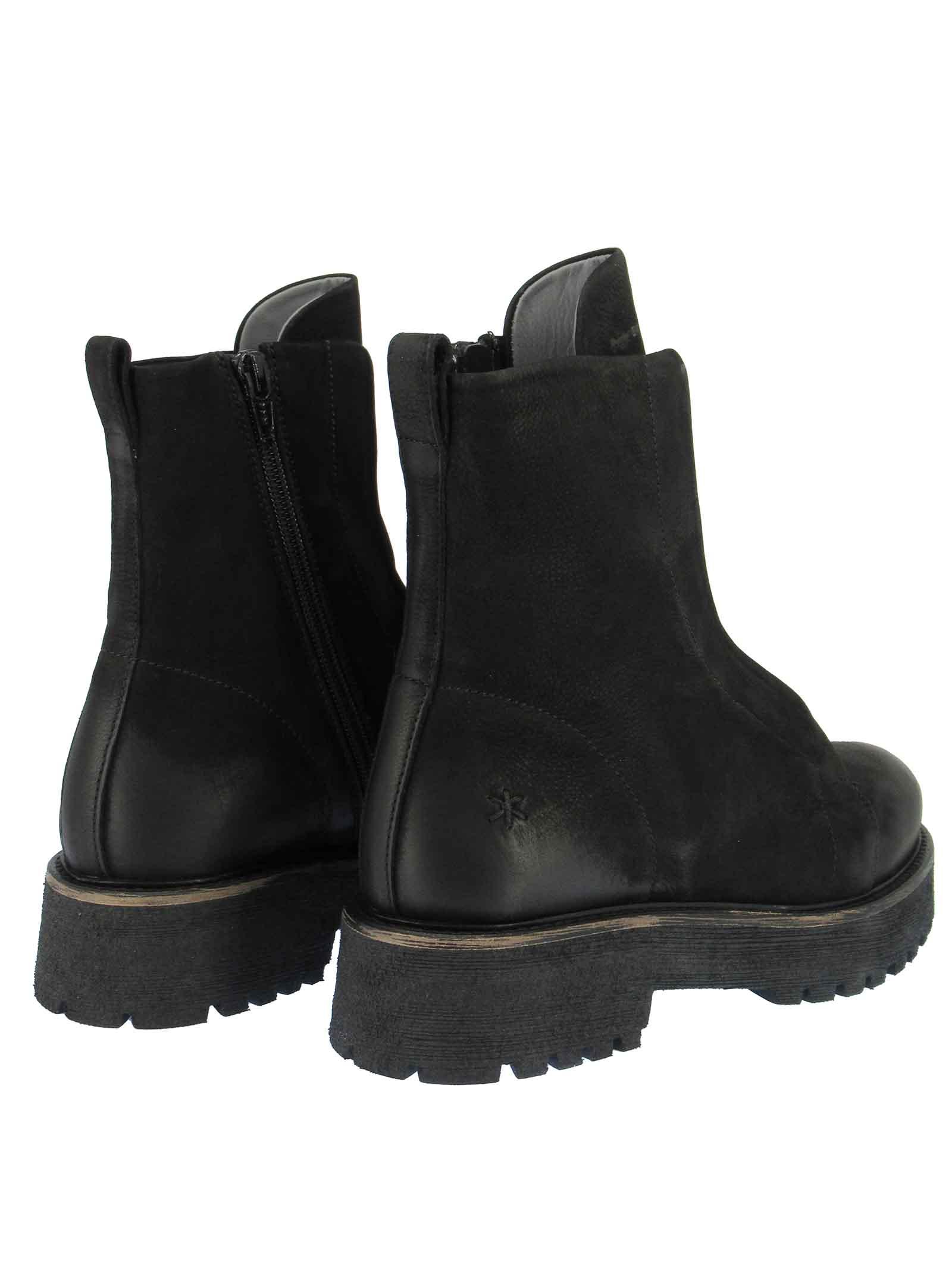 Women's Ankle Boots in Vintage Black Suede with Rubber Sole Tank Patrizia Bonfanti | Ankle Boots | KUNI001