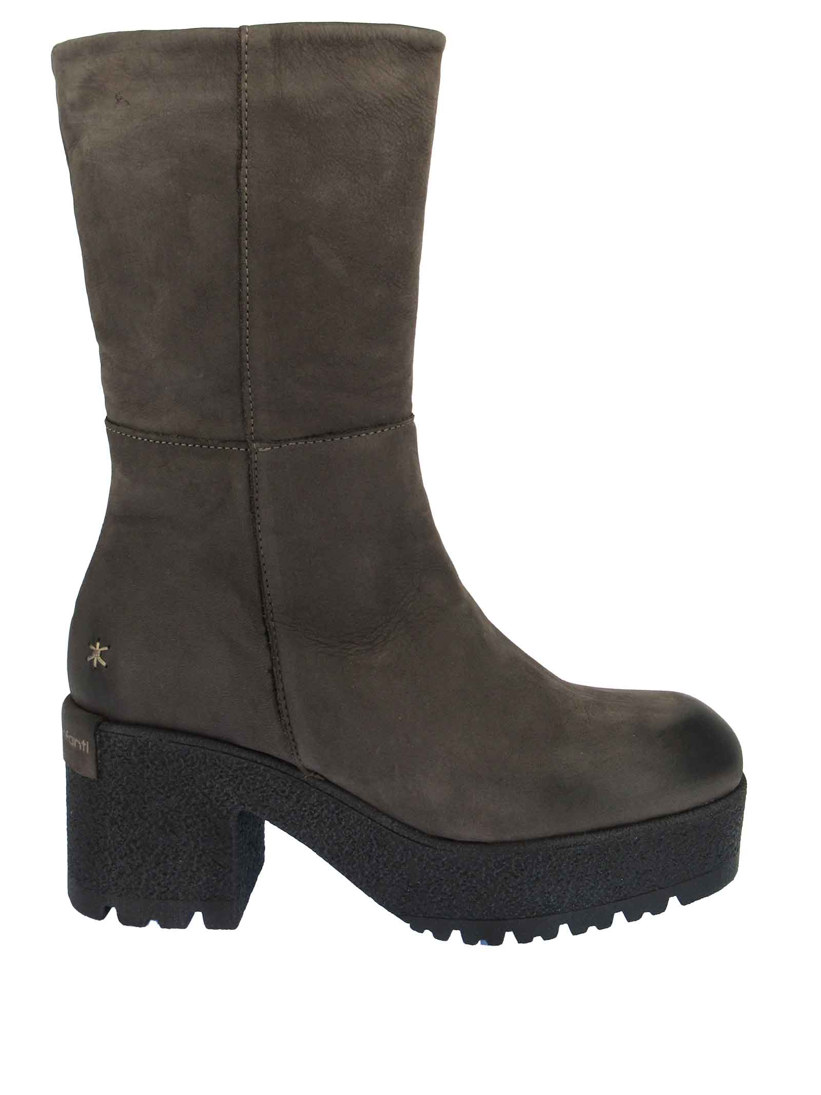 Women's Shoes Ankle Boots in Mud Matt Leather with High Tone on Tone Para Effect Sole Patrizia Bonfanti | Ankle Boots | ZADIE022