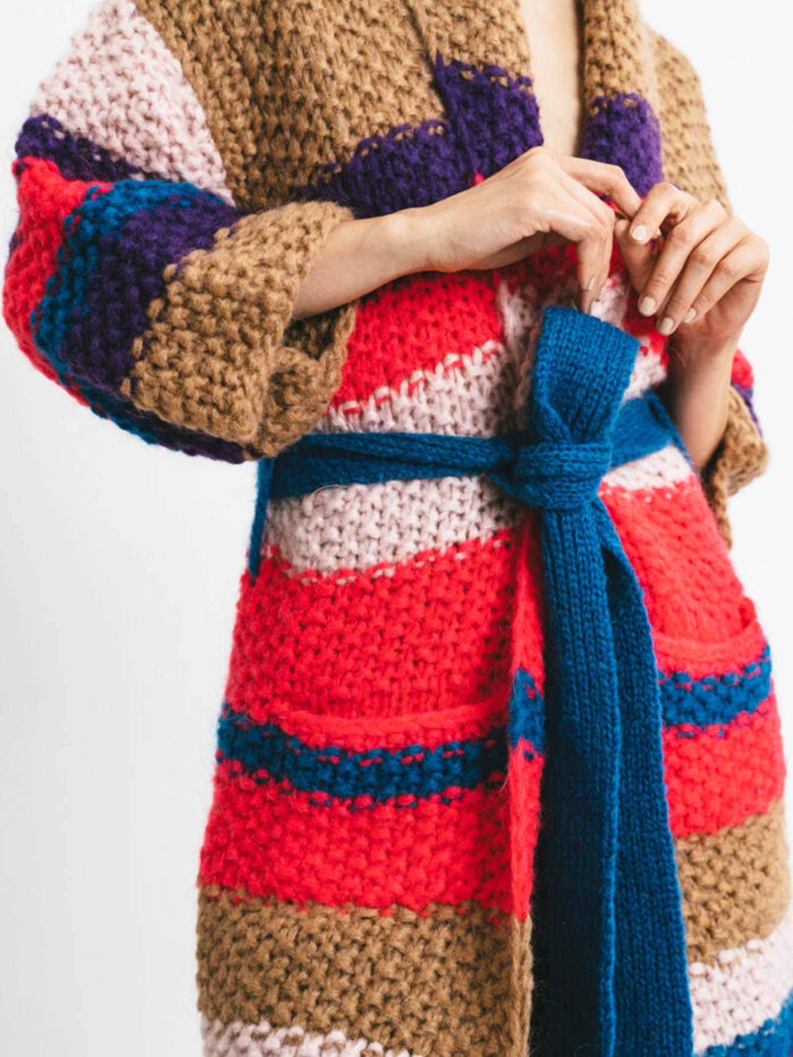 Abbigliamento Donna Cardigan Cappotto Over in Lana Cammello a Righe con Cintura Pink Memories   Maglieria   11114101