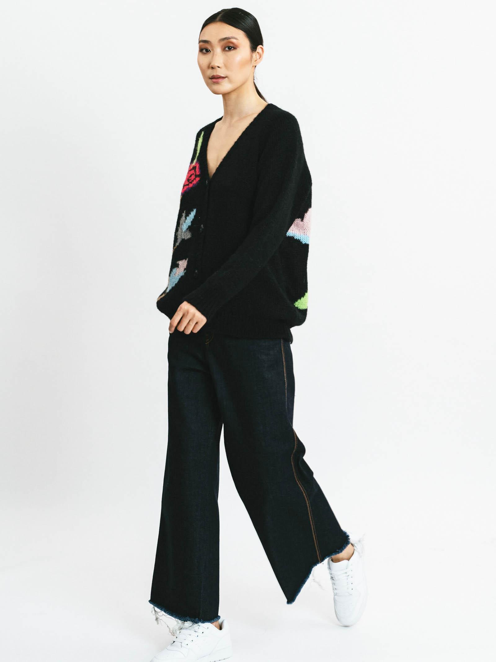 Abbigliamento Donna Cardigan in Lana Mohair Nero con Ricarmi e Scollo Profondo Pink Memories   Maglieria   1111602