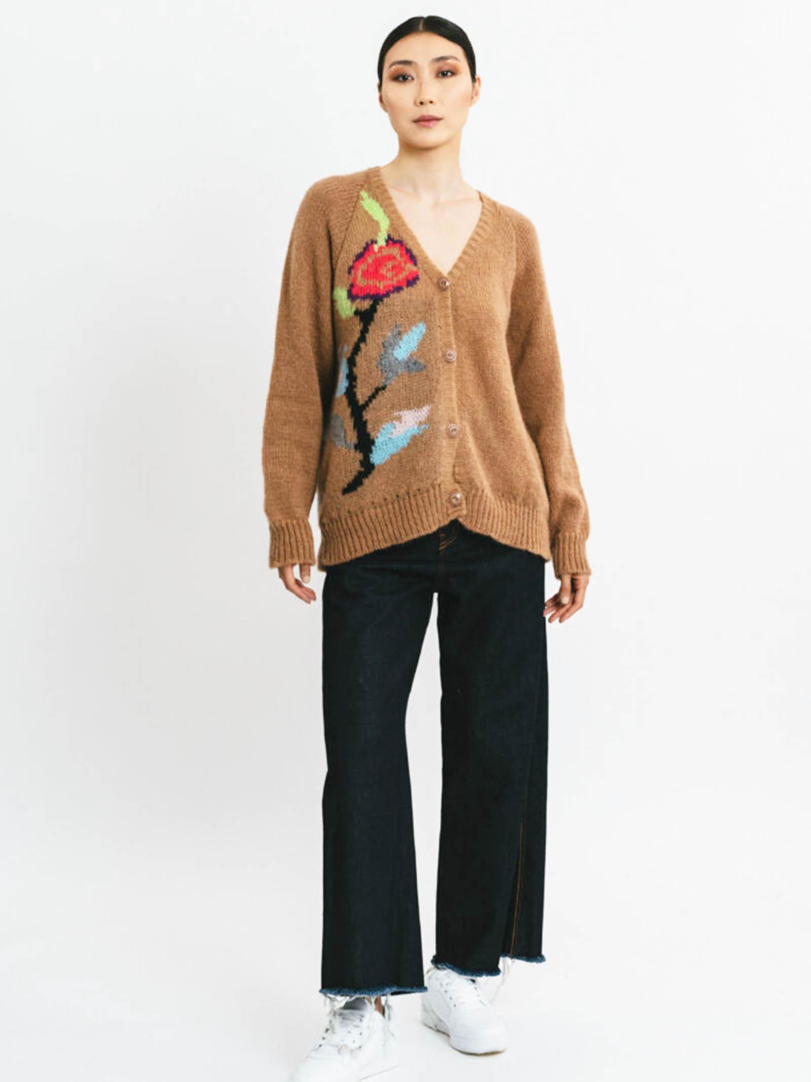 Abbigliamento Donna Cardigan in Lana Mohair Cammello con Ricarmi e Scollo Profondo Pink Memories | Maglieria | 1111624