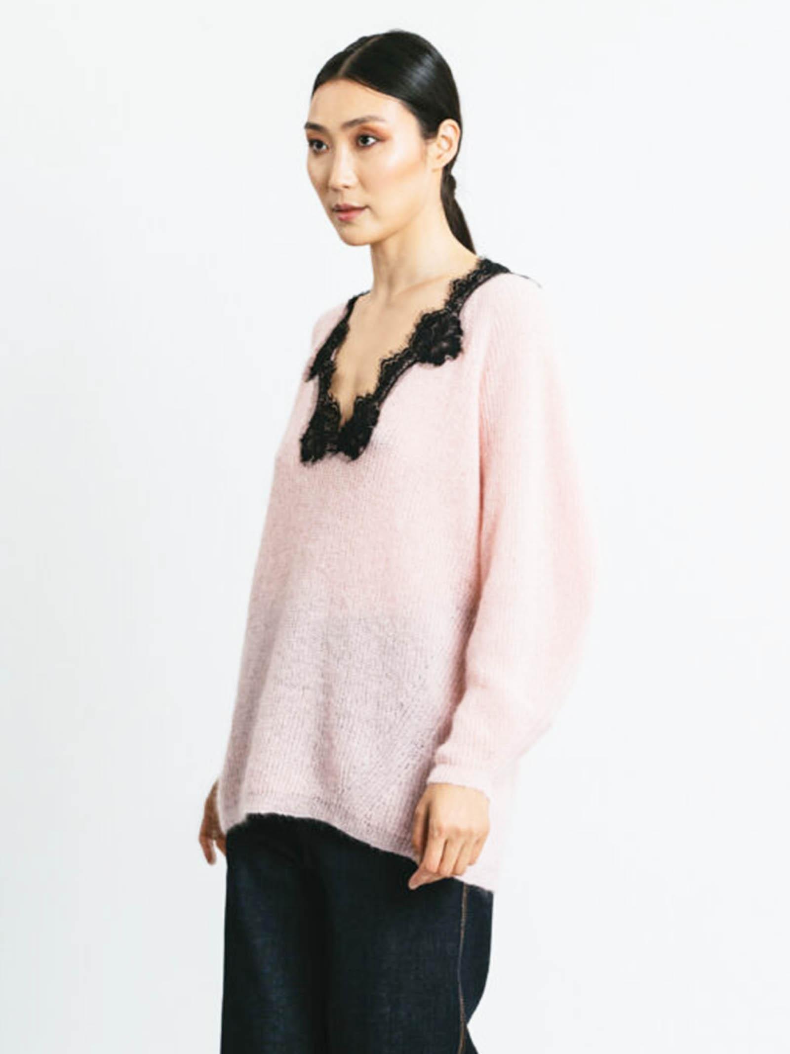 Abbigliamento donna Maglia in Mohair Rosa con Pizzo e Scollo a V Pink Memories | Maglieria | 1113429