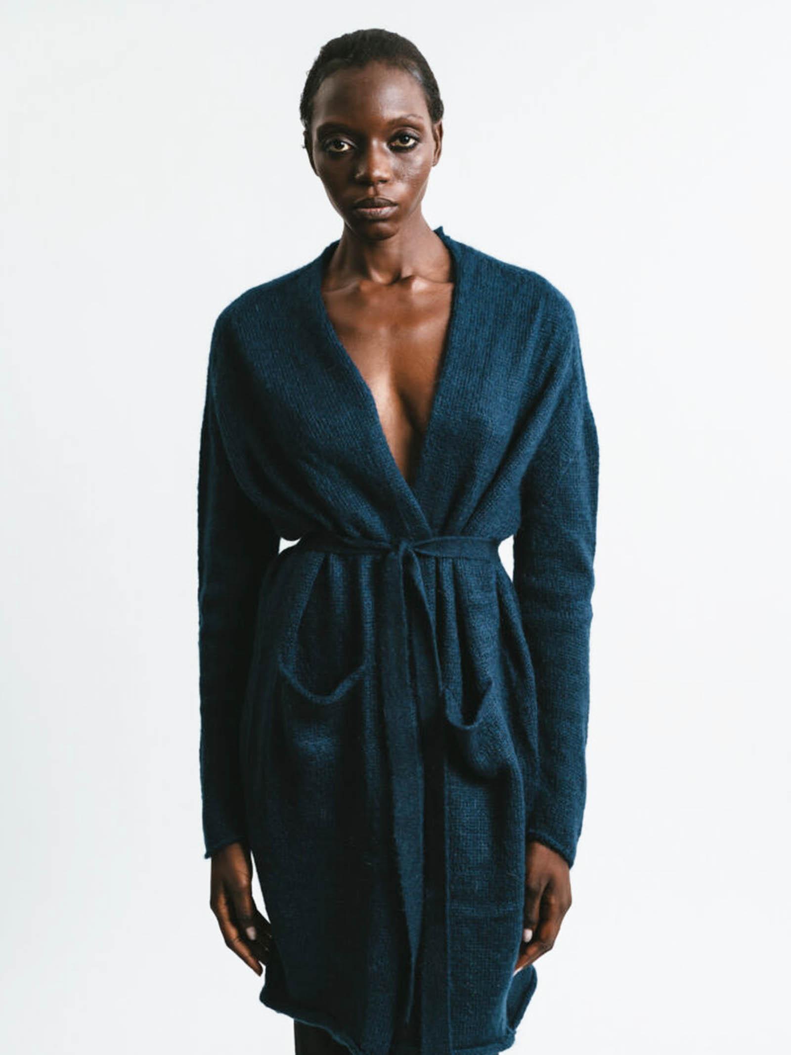 Abbigliamento Donna Cardigan Lungo in Mohair Blu Senza Bottoni con Cintura a Tono Pink Memories | Maglieria | 1113903