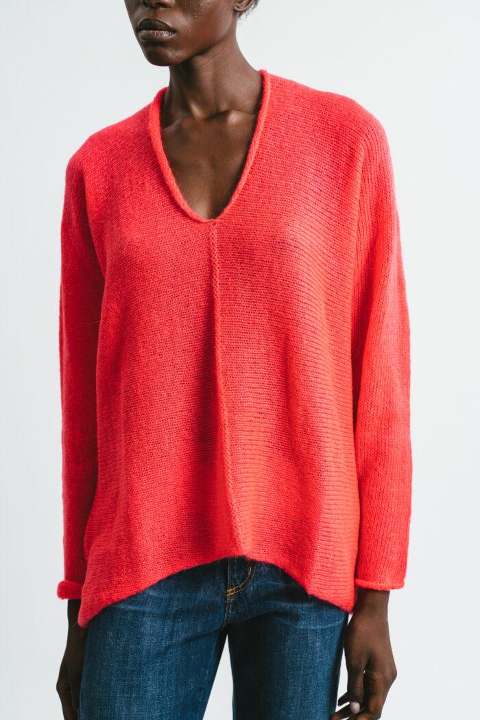 Abbigliamento Donna Maglia Scollo a V in Mohair Geranio Maniche Lunghe Pink Memories | Maglieria | 1114030
