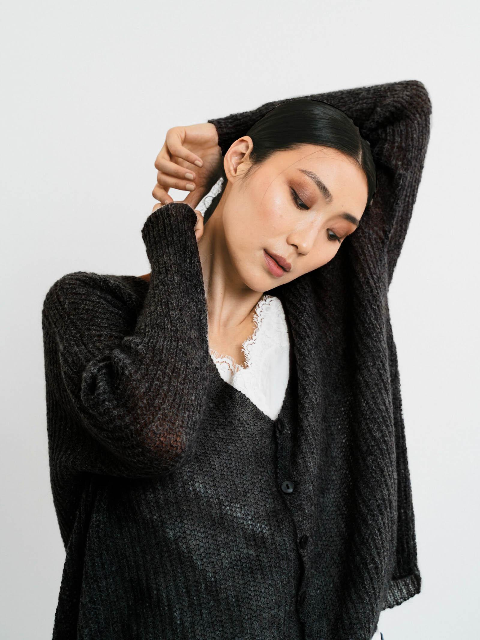 Abbigliamento Donna Cardigan in Mohair Nero con Bottoncini in Tinta e Scollo a V Pink Memories | Maglieria | 1114502
