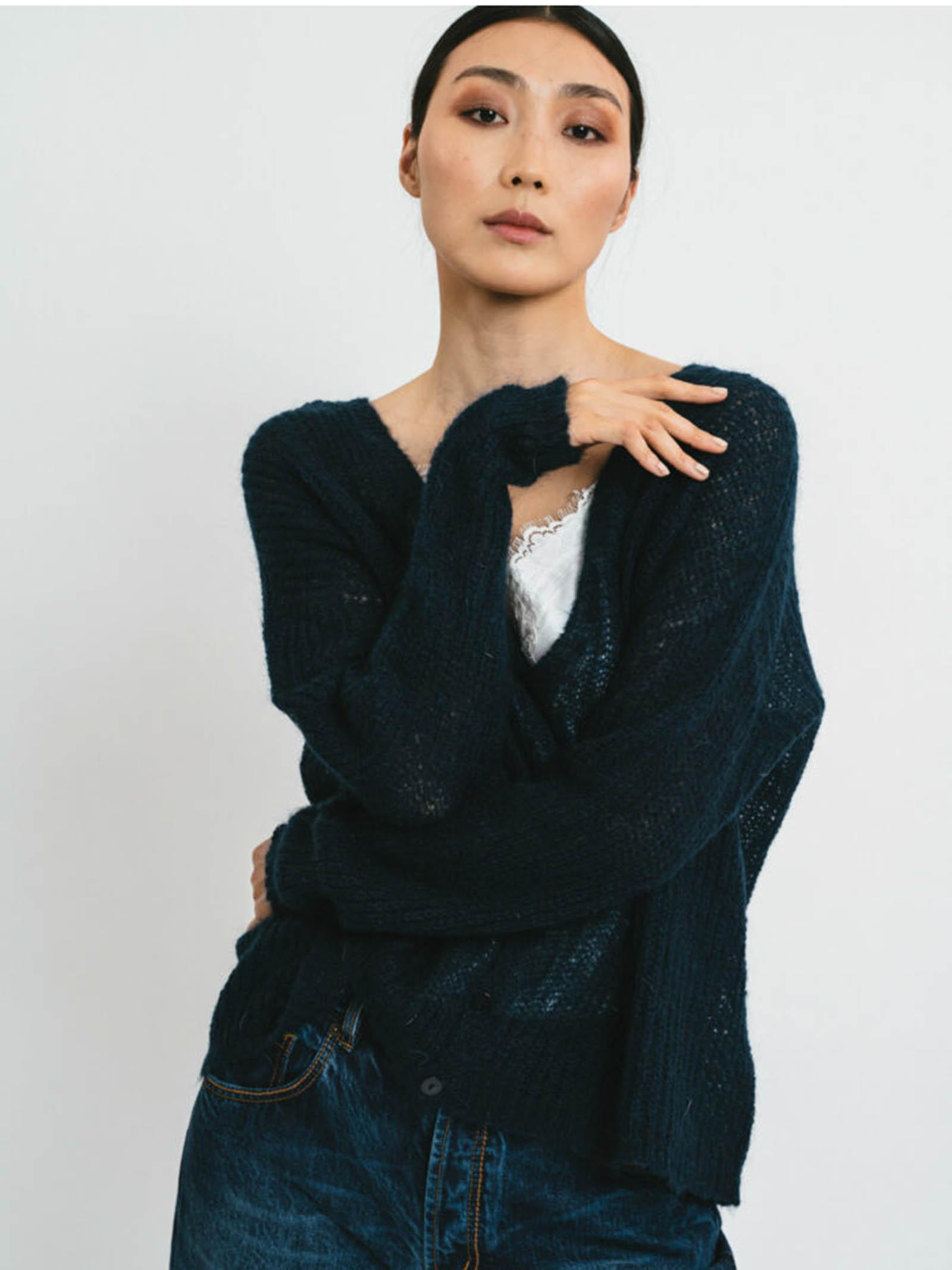 Abbigliamento Donna Cardigan in Mohair Blu con Bottoncini in Tinta e Scollo a V Pink Memories | Maglieria | 1114503