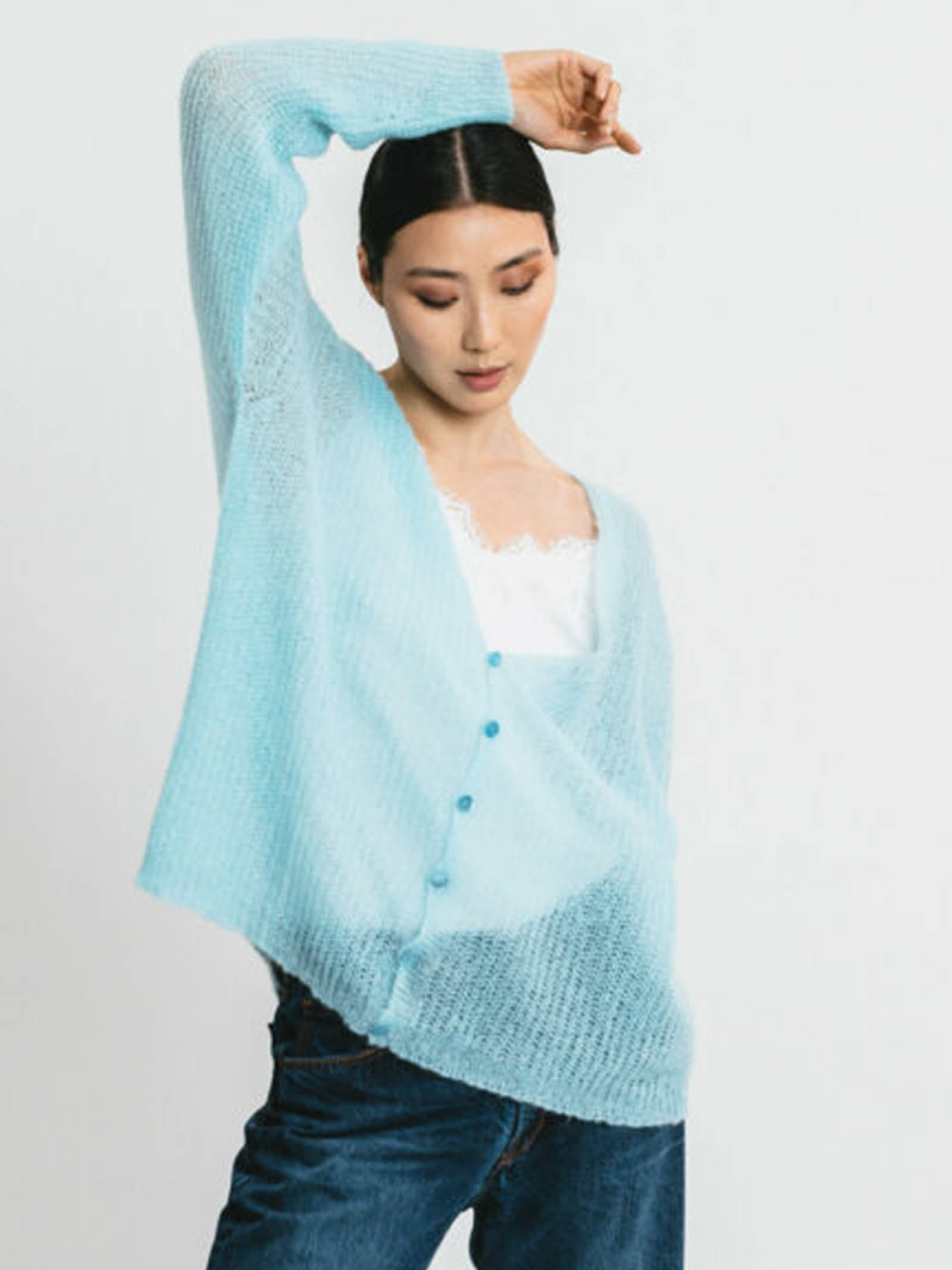 Women's Clothing Cardigan in Sky-Blue Mohair with Matching Buttons and V-neck Pink Memories | Knitwear | 1114511