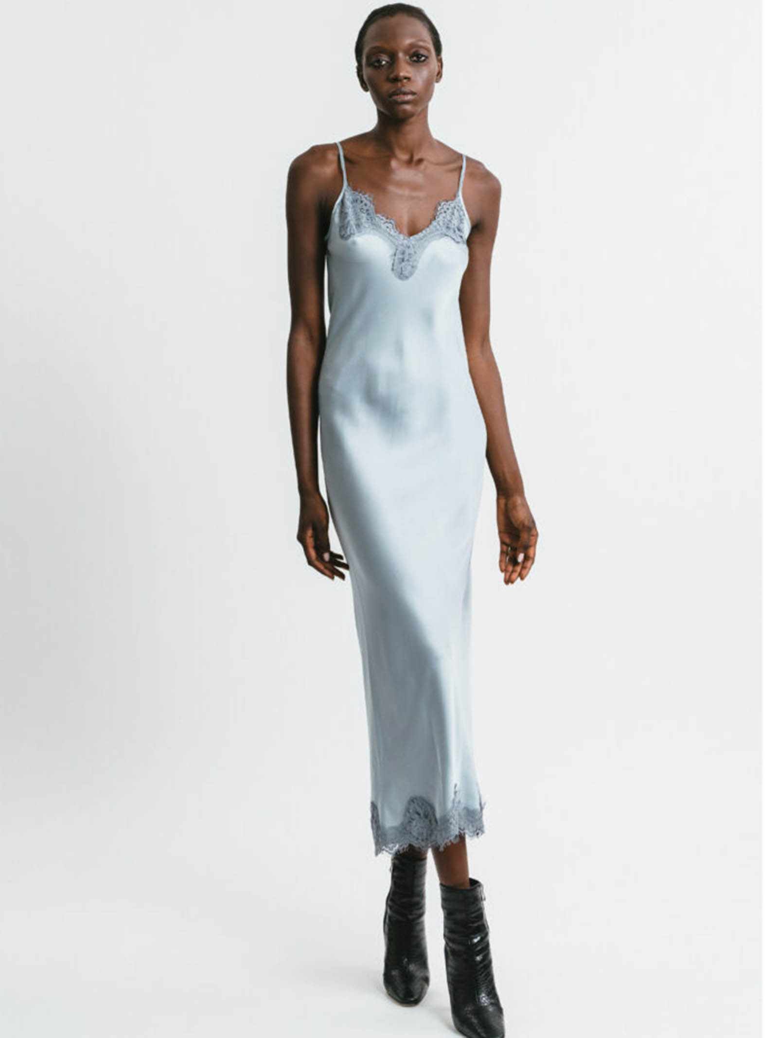 Women's Clothing Long Slip Dress in Silver Chenille with Lace Neckline and Shoulder Straps Pink Memories   Dresses   1115525
