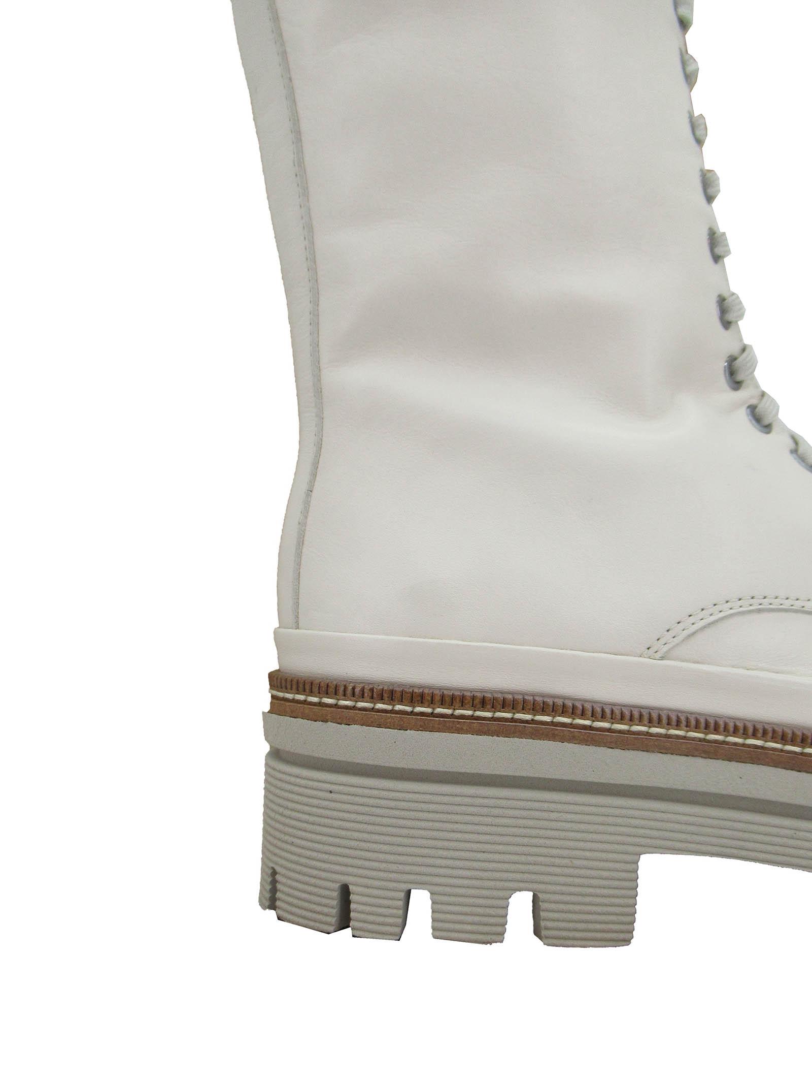 Calzature Donna Stivaletti Anfibi Stringati in Pelle Off White con Zip Laterale e Fondo Gomma Carrarmato Pons Quintana | Stivaletti | 9424100