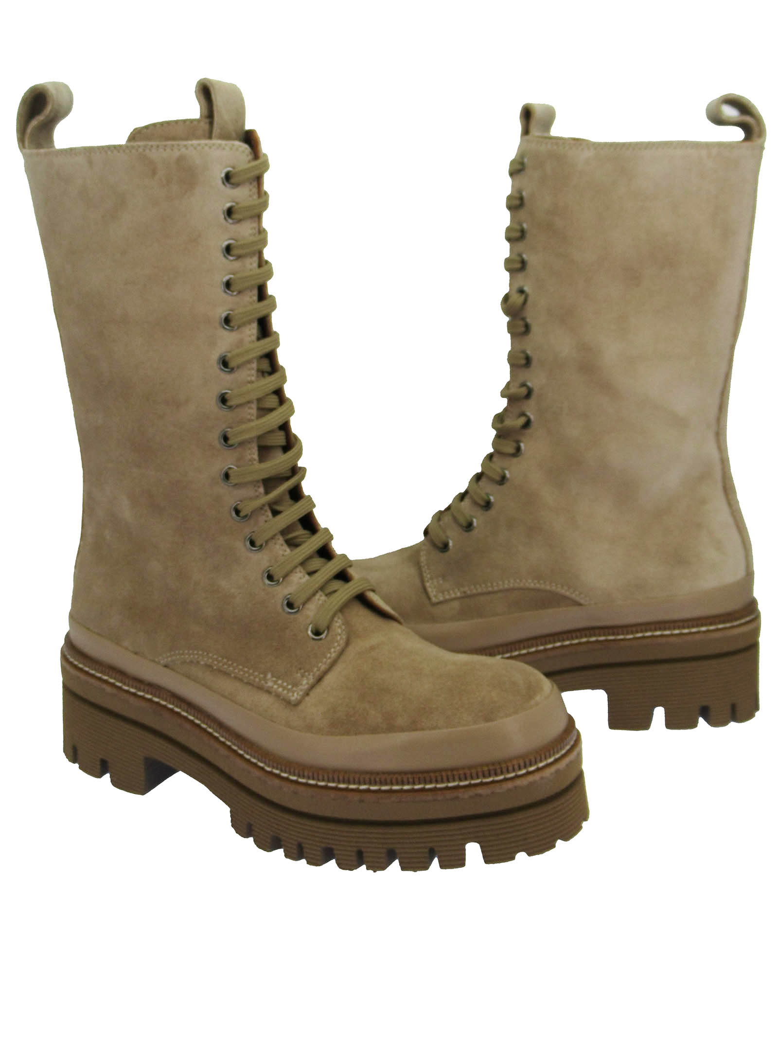 Women's Shoes Amphibian Lace-up Boots in Nude Suede with Side Zip and Rubber Tank Sole Pons Quintana | Ankle Boots | 9424300