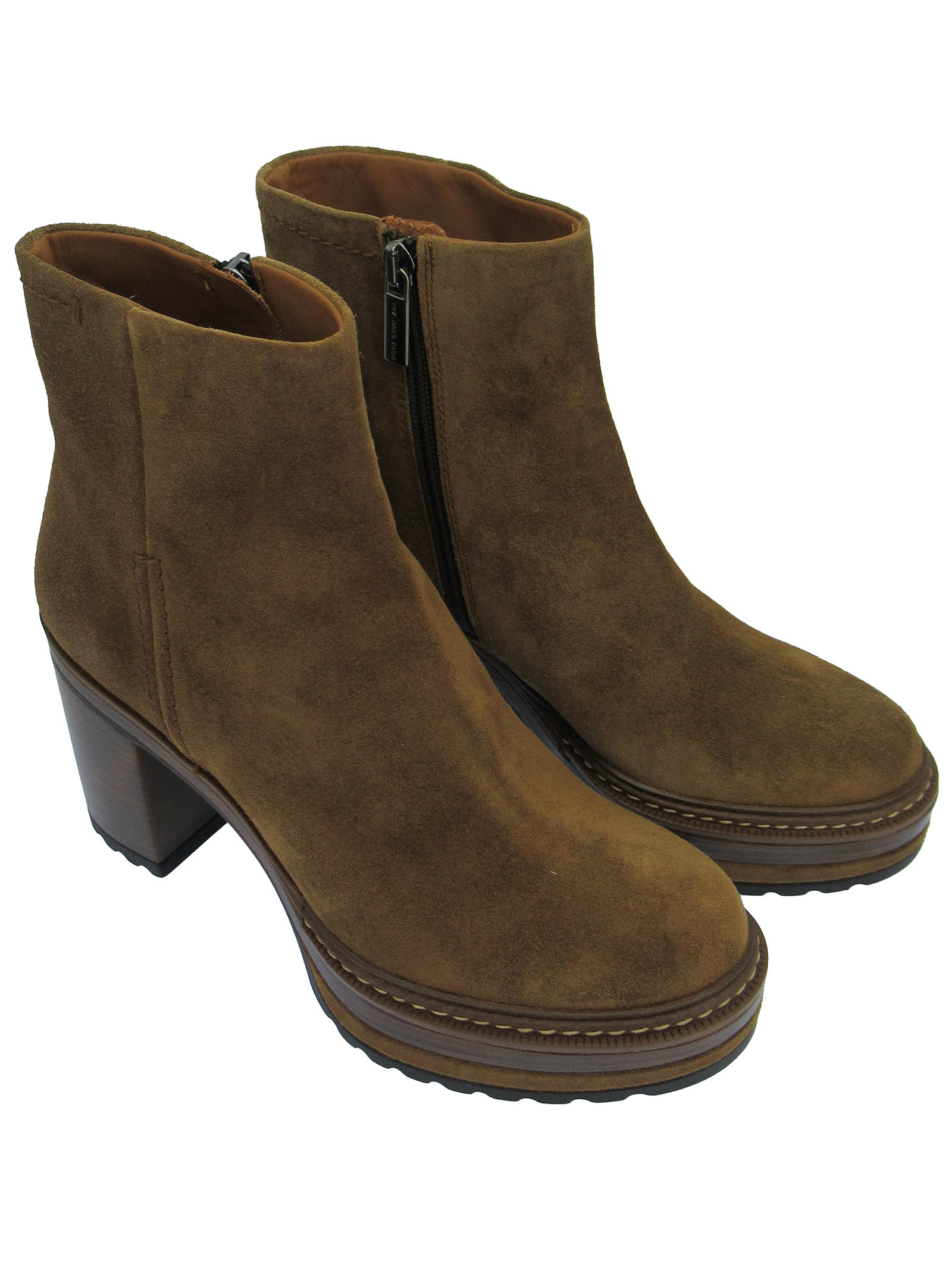 Women's Shoes Ankle Boots in Tan Suede with Size Zip and High Heel and Platform  Pons Quintana   Ankle Boots   9542014