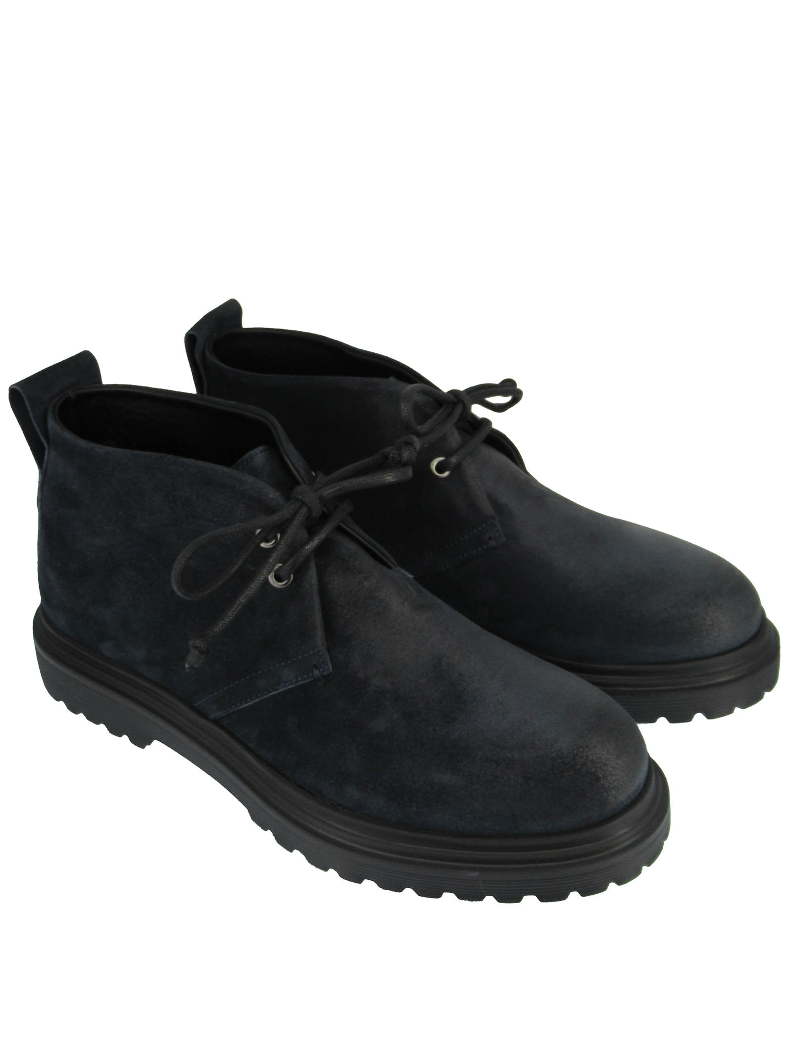 Men's Shoes Lace-up Ankle Boots in Blue Suede with Rubber Tank Sole Rogal's   Ankle Boots   MAR 14002