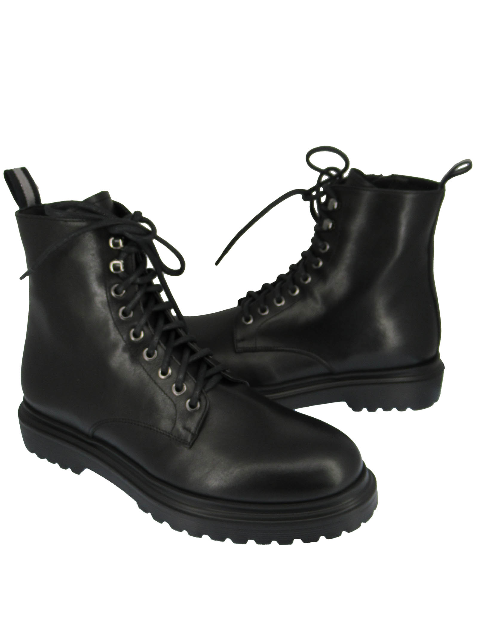 Men's Shoes Lace-up Amphibious Ankle Boots in Black Leather with Tank Sole Rogal's   Ankle Boots   MAR 16001