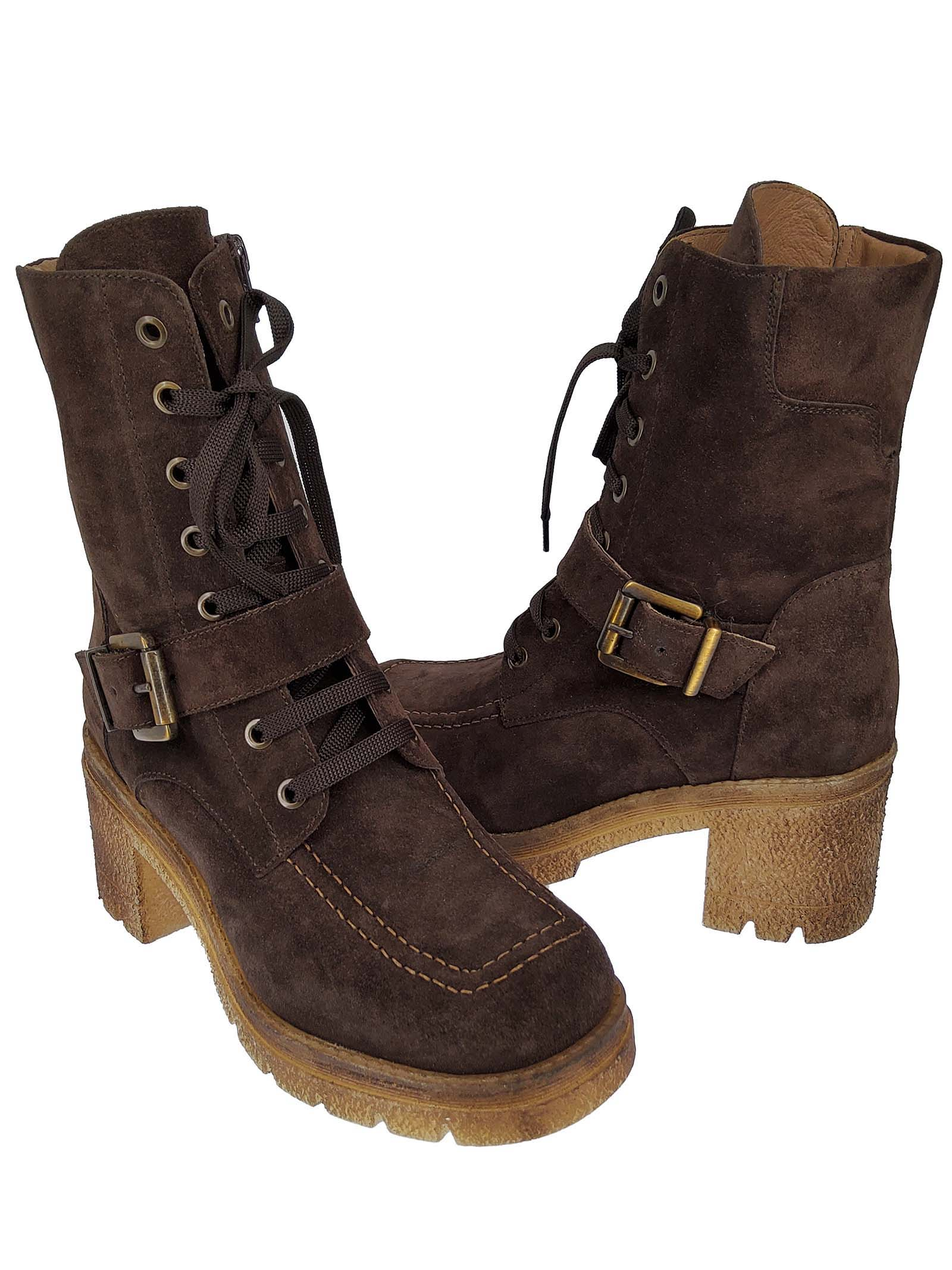 Women's Shoes Lace-up Combat Ankle Boots In Brown Suede with Buckle and Side Zip and Para Sole Spatarella | Ankle Boots | AT31013